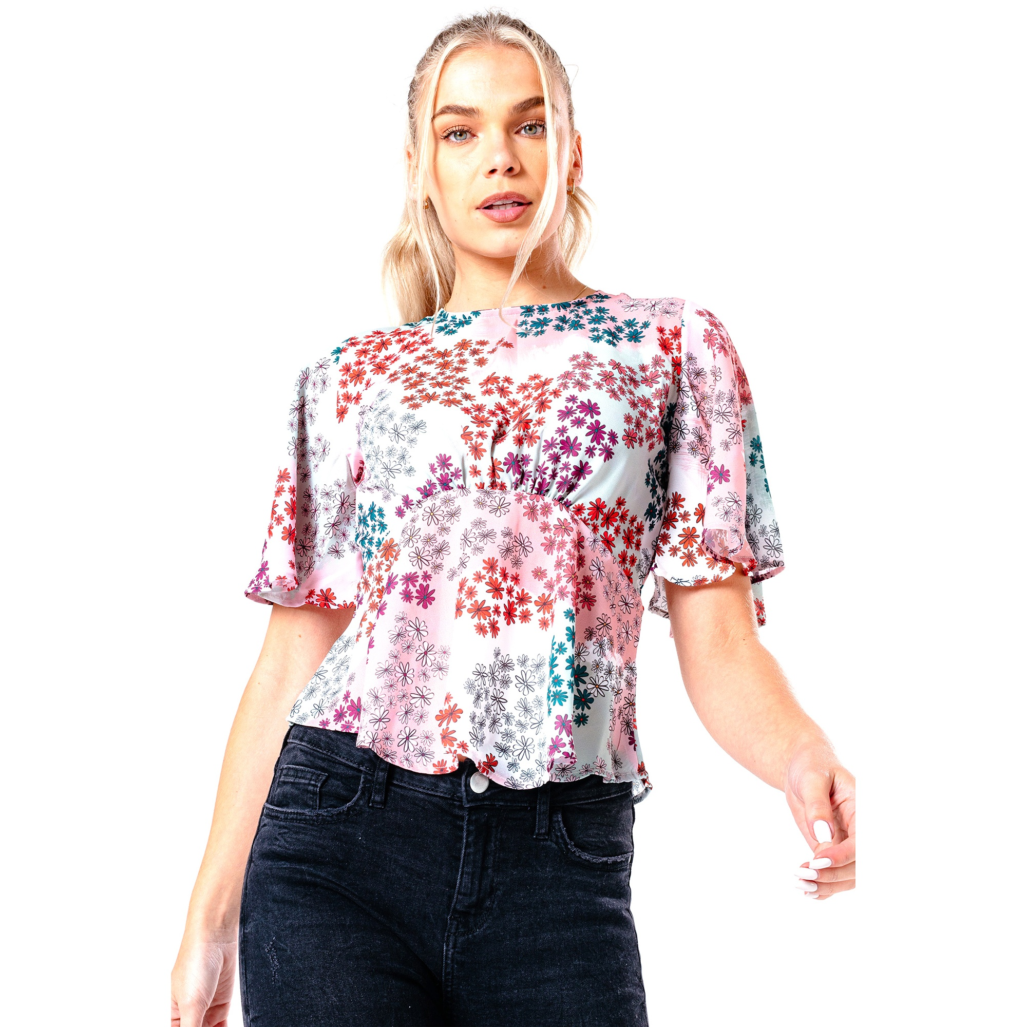Hype Womens/Ladies Paint Daisy Blouse (8 UK) (Multicoloured)