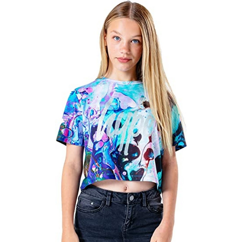 Hype Childrens/Kids Watercolour Glitter Crop Top (16 Years) (Multicoloured)