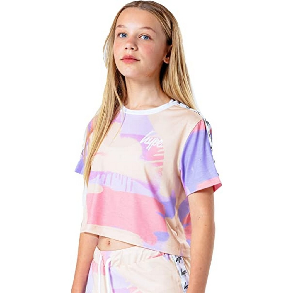 Hype Childrens/Kids Peach Taped Spray Crop Top (15 Years) (Multicoloured)