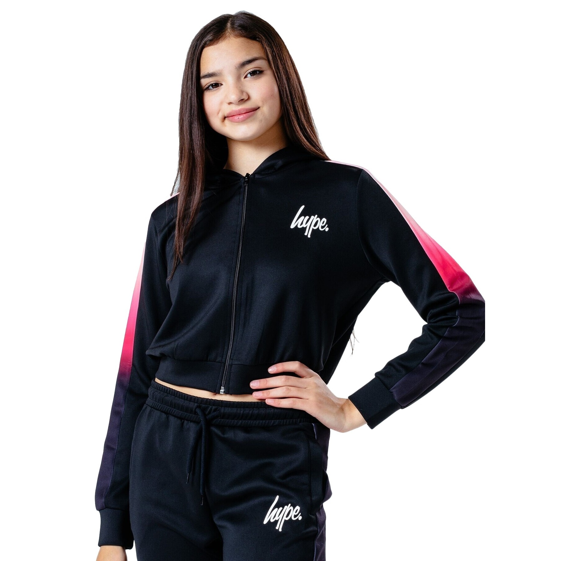 Hype Girls Fade Track Jacket (7-8 Years) (Black/Pink)