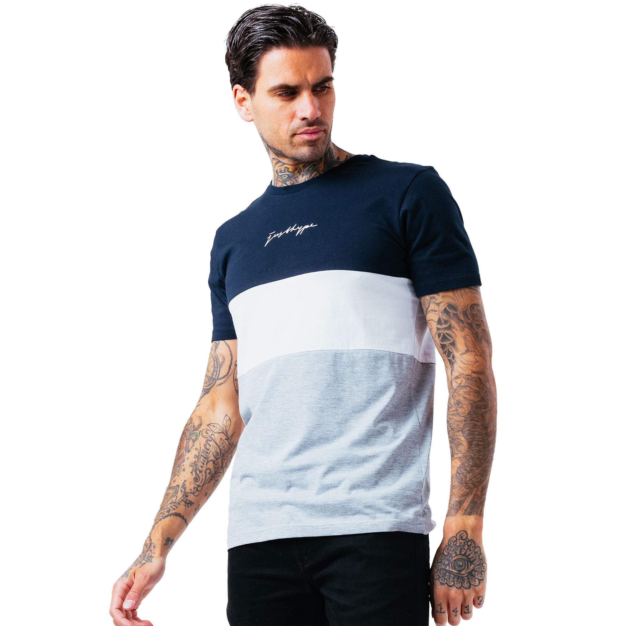 Hype Mens Aldgate T-Shirt (XS) (Grey/Navy/White)