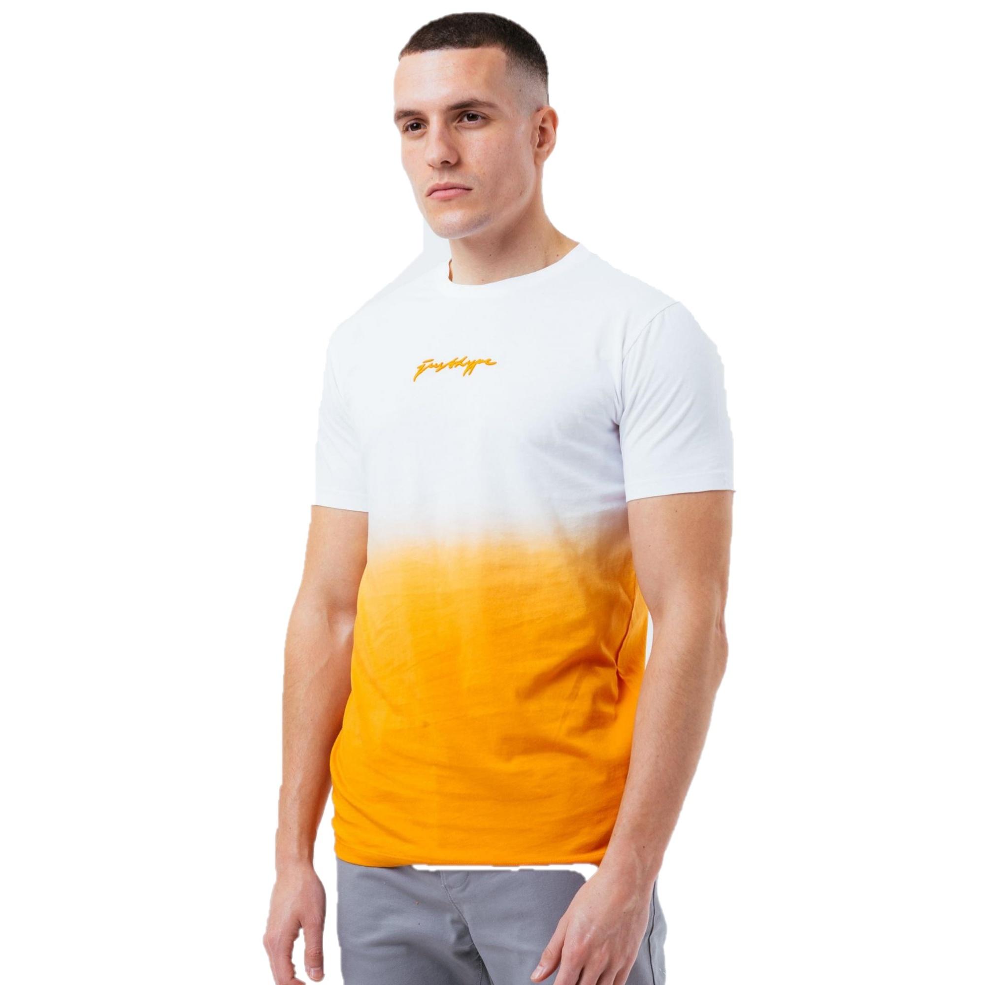 Hype Mens Dip Dye T-Shirt (XS) (White/Orange)