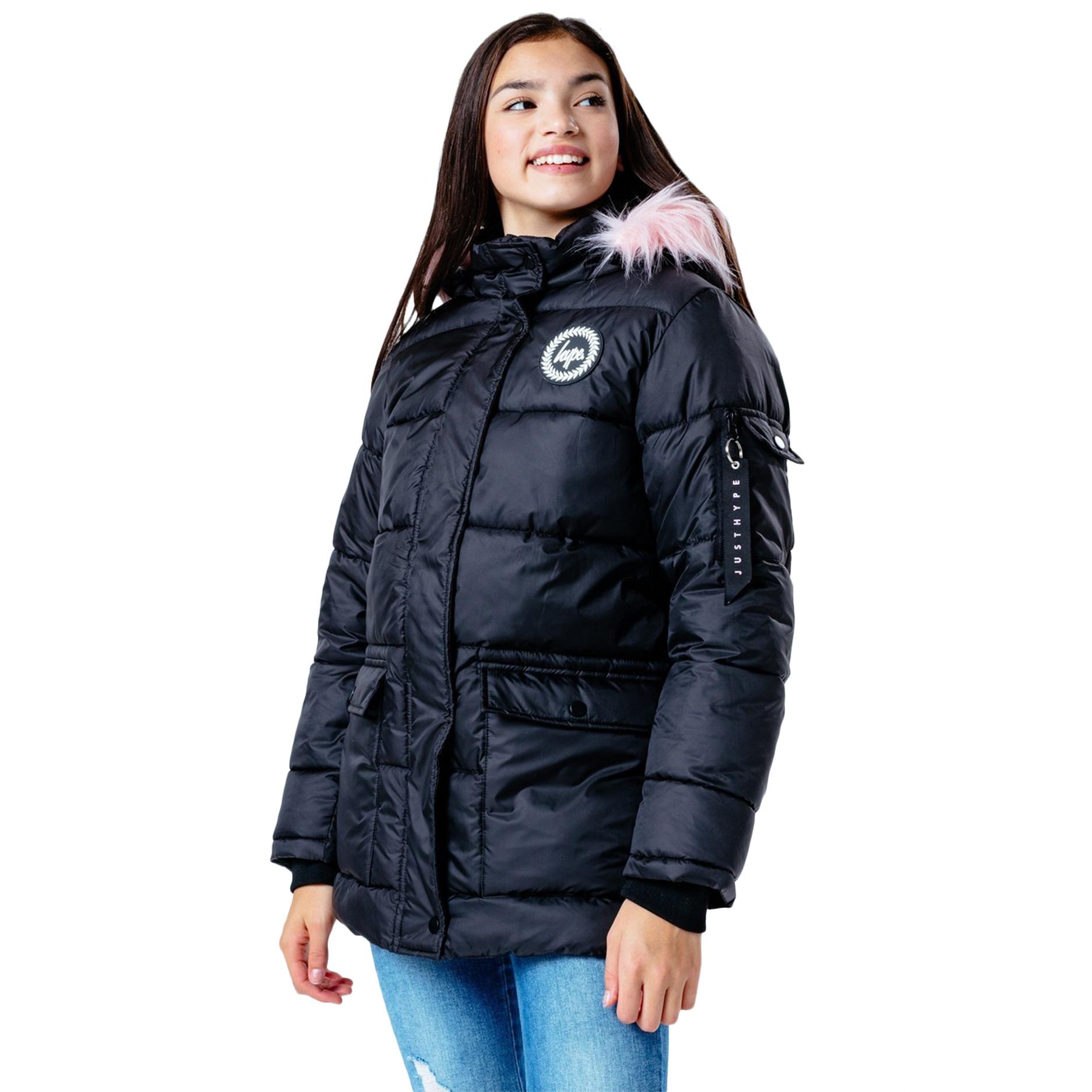 Hype Childrens/Kids Explorer Faux Fur Jacket (16 Years) (Black/Pink)