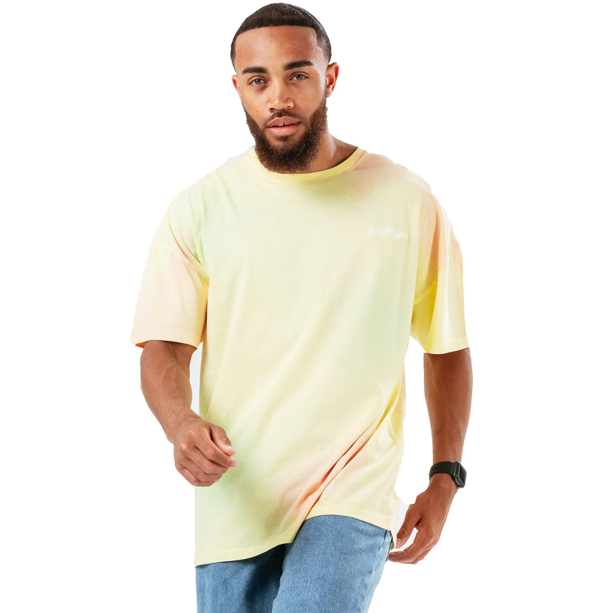 Hype Mens Candy Tie Dye Oversized T-Shirt (XL) (Light Yellow/Pale Pink)