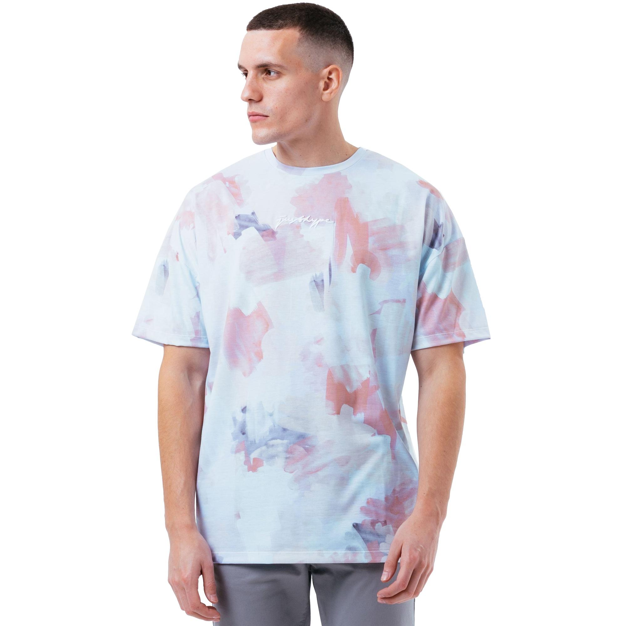 Hype Mens Watercolour Oversized T-Shirt (XXL) (Light Blue/Peach)