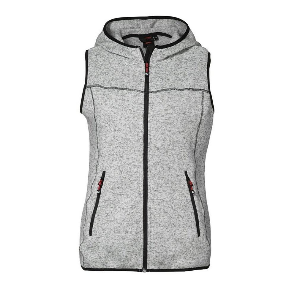 ID Womens/Ladies Melange Knit Fleece Fitted Sleeveless Jacket/Vest (XL) (Grey melange)