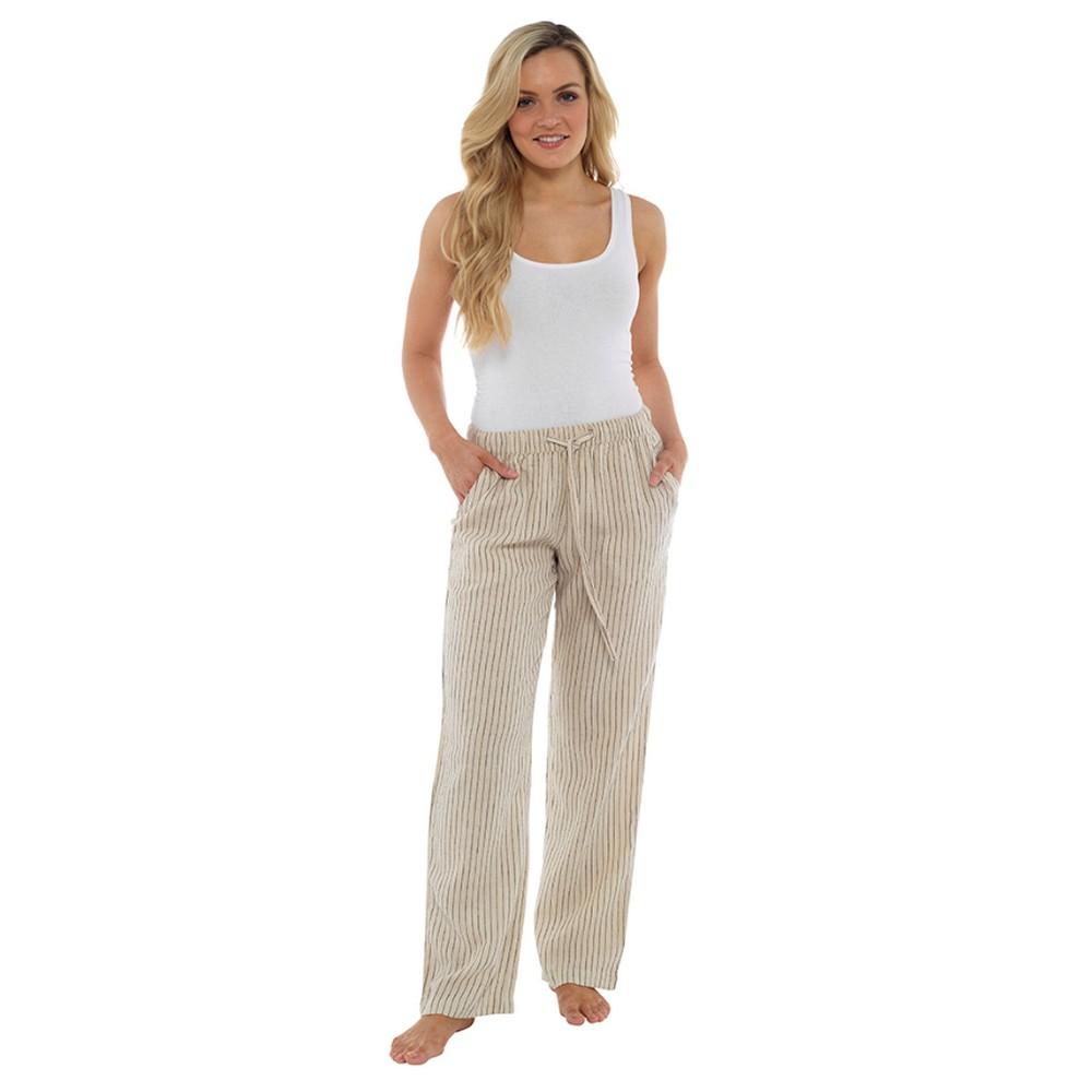 Indigo Roc Ladies/Womens Linen Trousers (18 UK) (Stone)