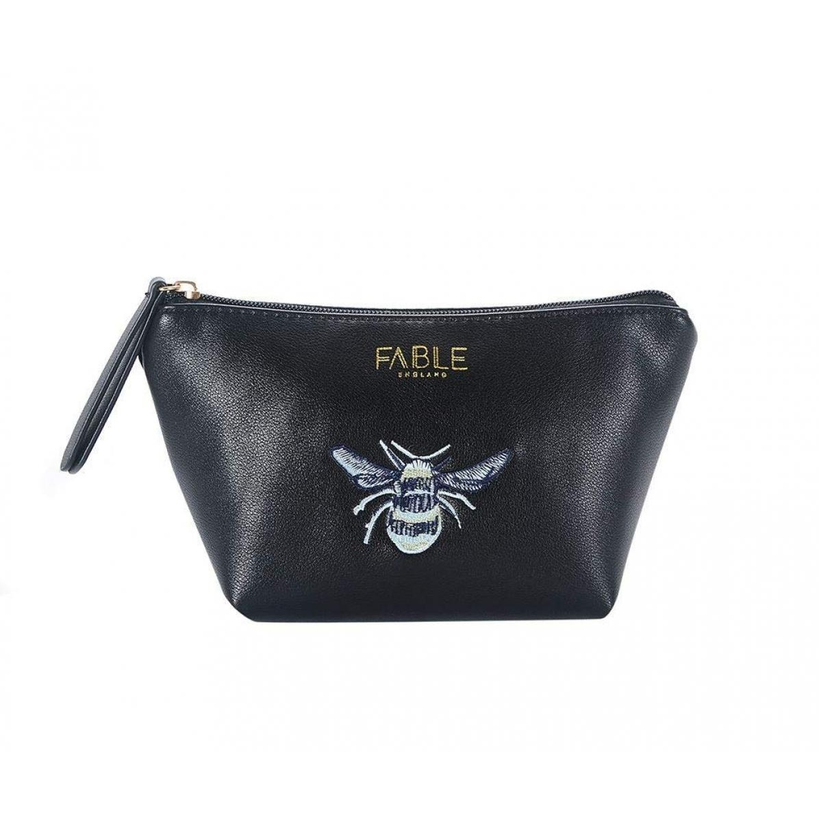 Fable Womens/Ladies Vintage Bee Embroidered Makeup Bag (L) (Black)