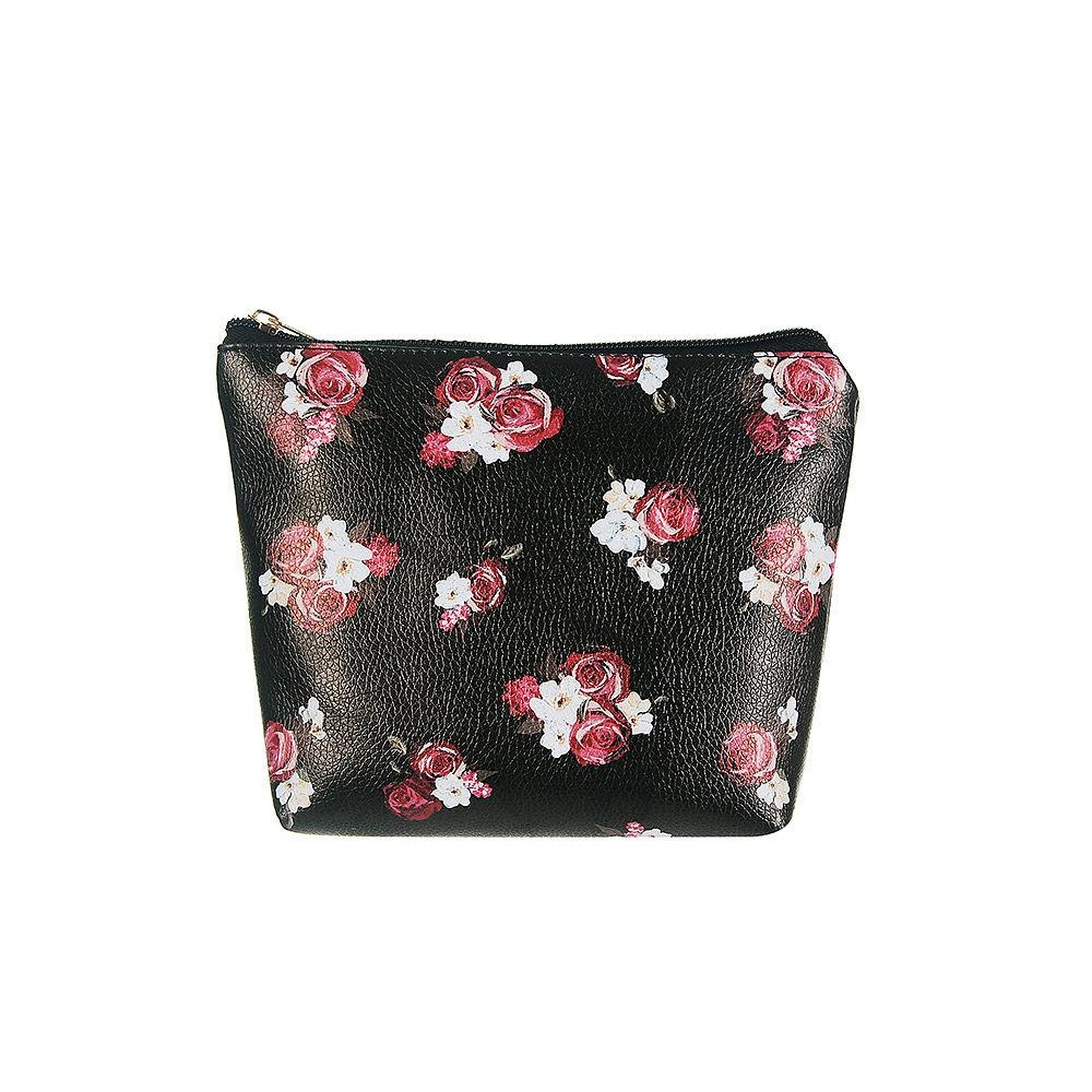 Jewelcity Womens/Ladies Dark Floral Large Makeup Bag (One Size) (Black/Floral)