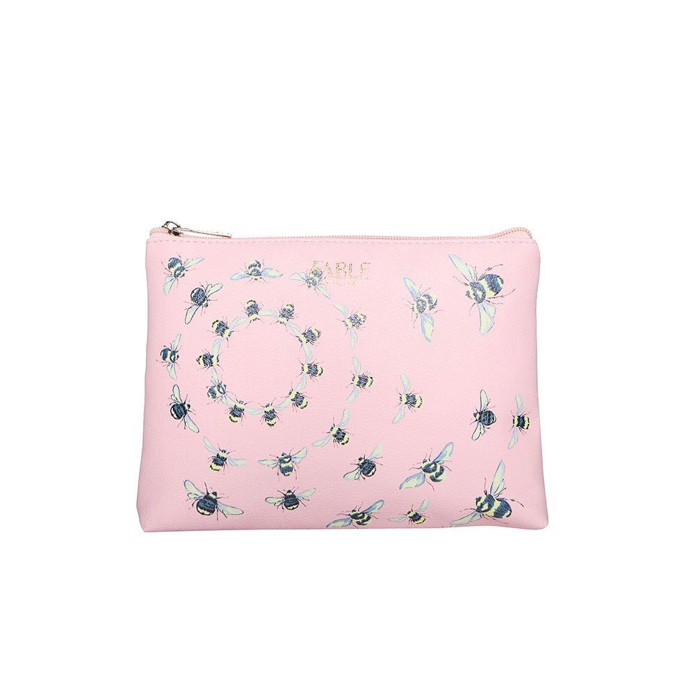 Fable Womens/Ladies Vintage Bee Print Flat Makeup Bag (One Size) (Pink)
