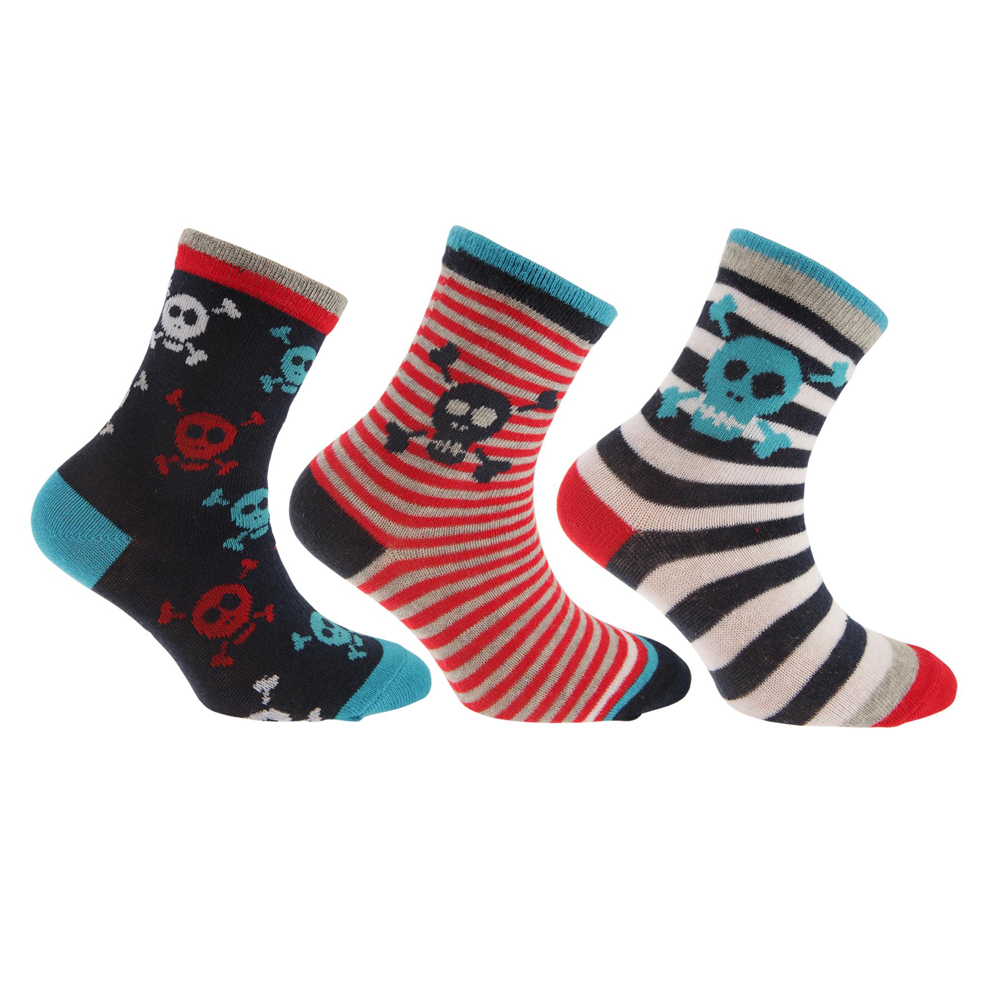 Childrens-Boys-Cotton-Rich-Skull-Dinosaur-Design-Socks-Pack-Of-3-K330