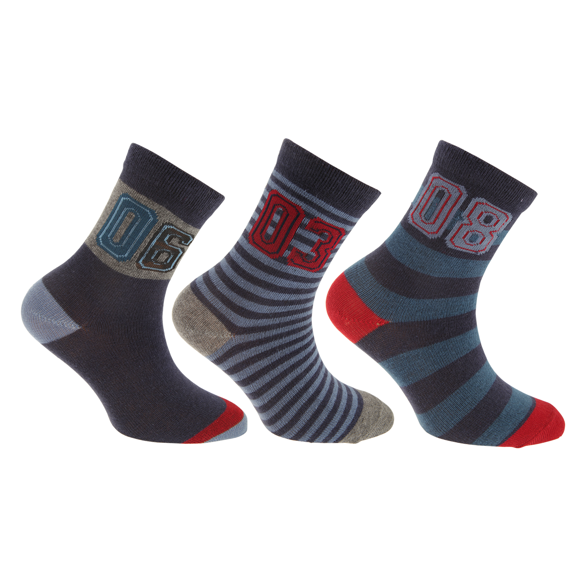 K344 Pack Of 3 Childrens Boys Gray Cotton Rich Socks With Elastane