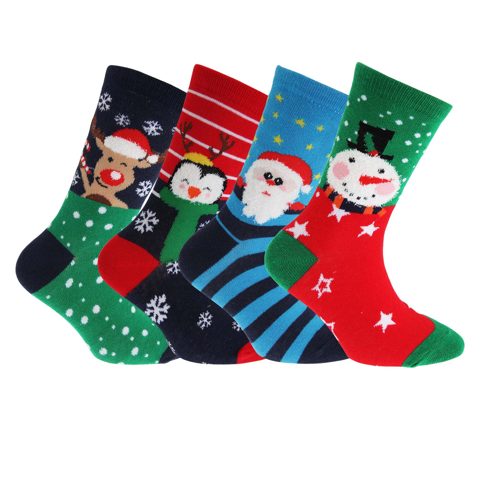 FLOSO Childrens/Kids Christmas Character Design Socks (4 Pairs ...
