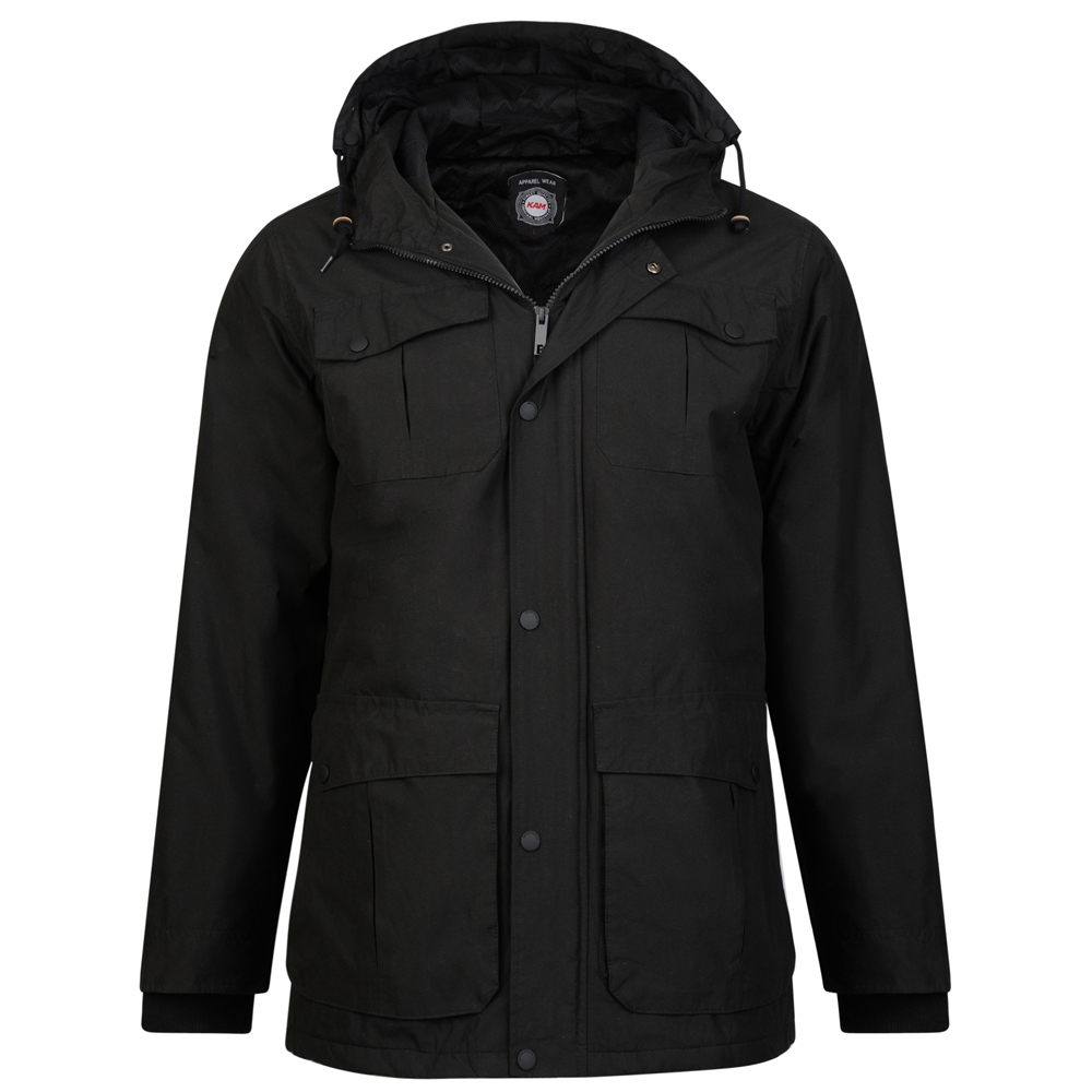 Kam Jeanswear Mens Padded Coat (8XL) (Black)
