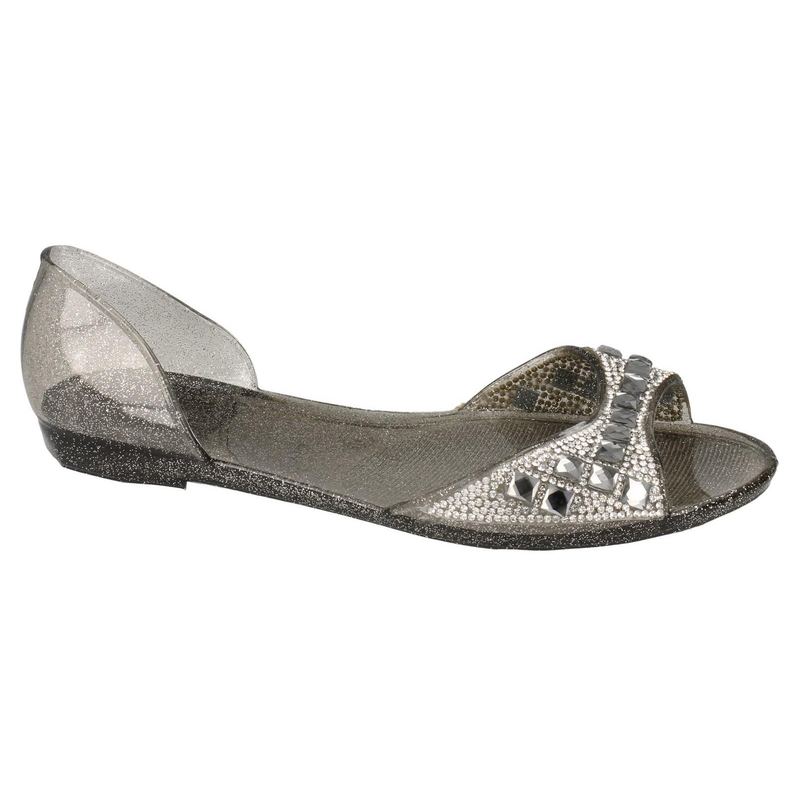 Spot on Mujer/Dama Diamante Tachonado Puntera Abierta Jalea Ballet Zapatos sin Taco Sin