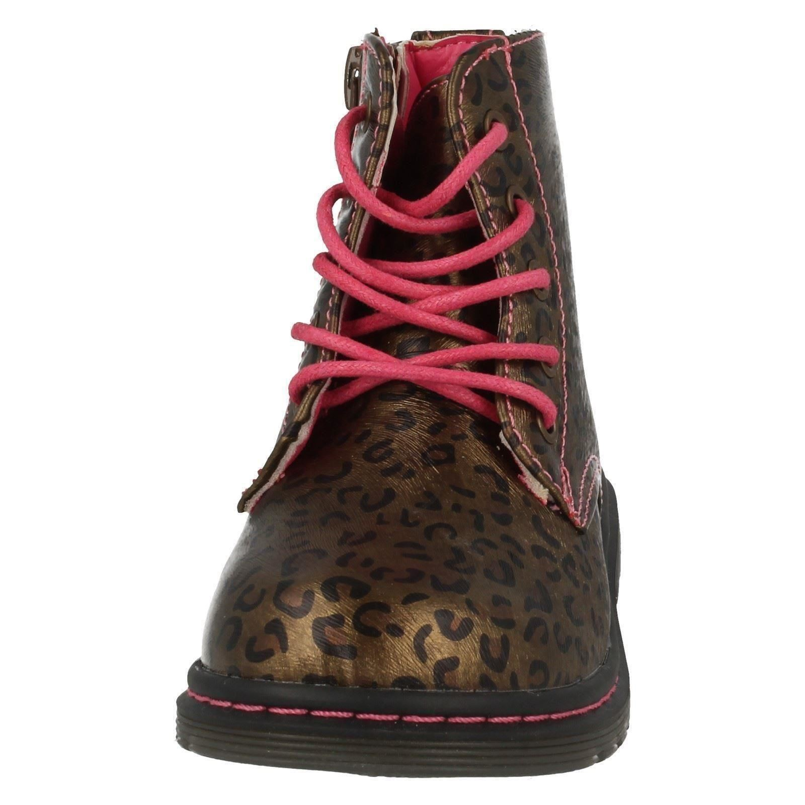 Spot On Baby Girls Lace Up Leopard Print Ankle Boots (4 Child UK) (Bronze)