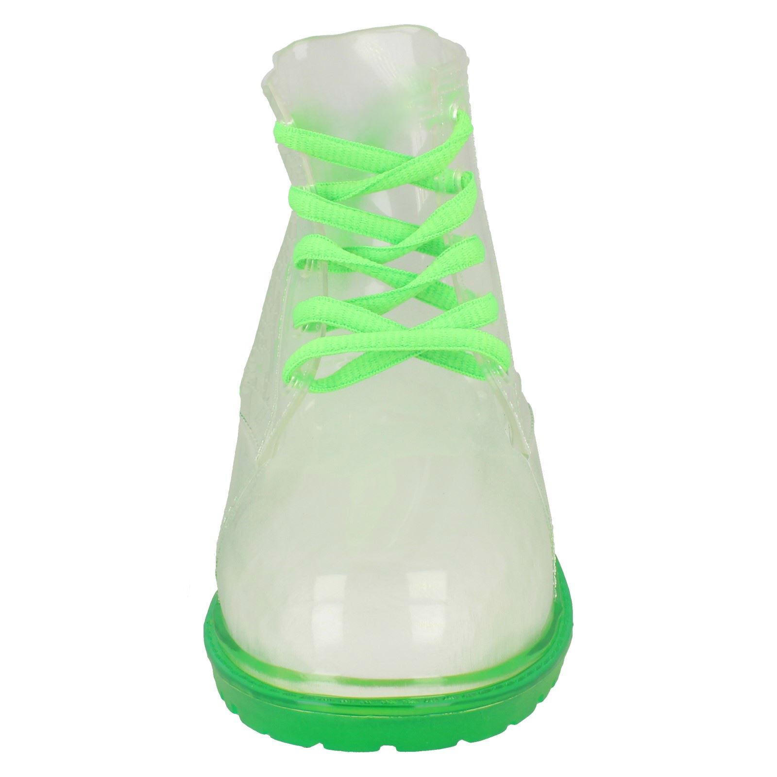 Spot On Childrens Girls Transparent Lace Up Jelly Boots (13 Child UK) (Green)