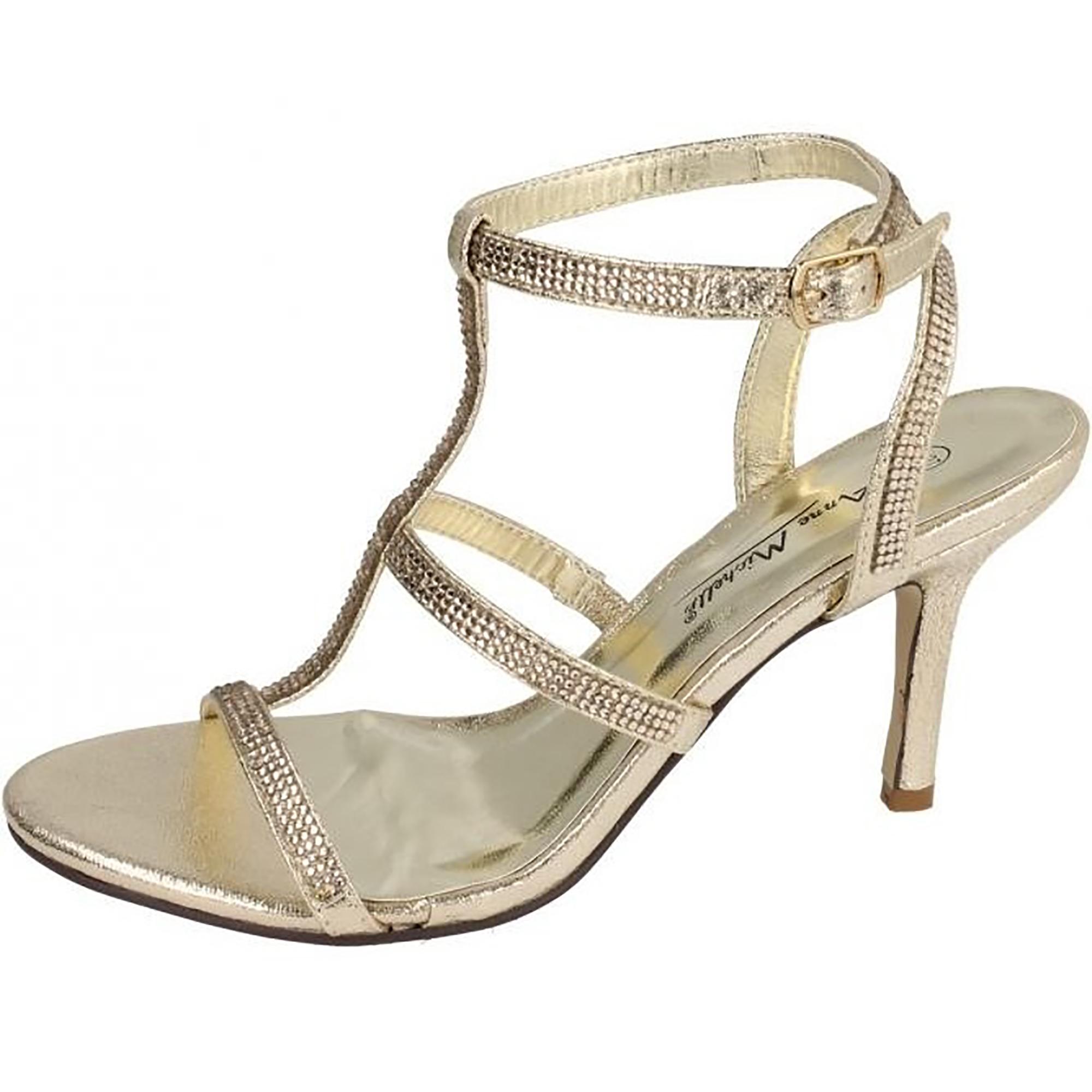 Anne Michelle Womens/Ladies Diamante H Bar Evening Sandals (7 UK) (Champagne)