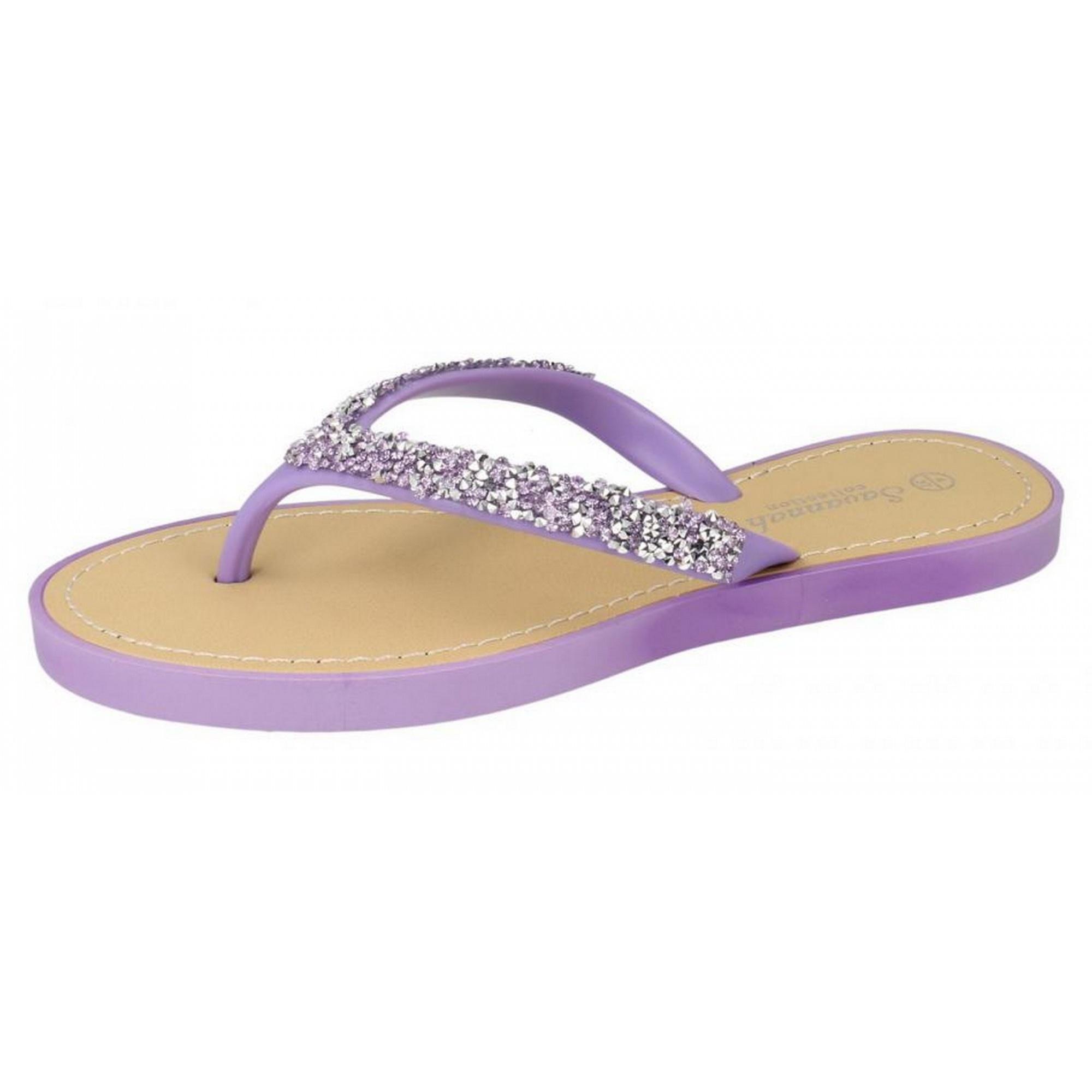 Savannah Damen Zehensteg-Sandalen / Flip Flops mit Glitzer-Design (37 EU) (Pink) FteyGmc9c