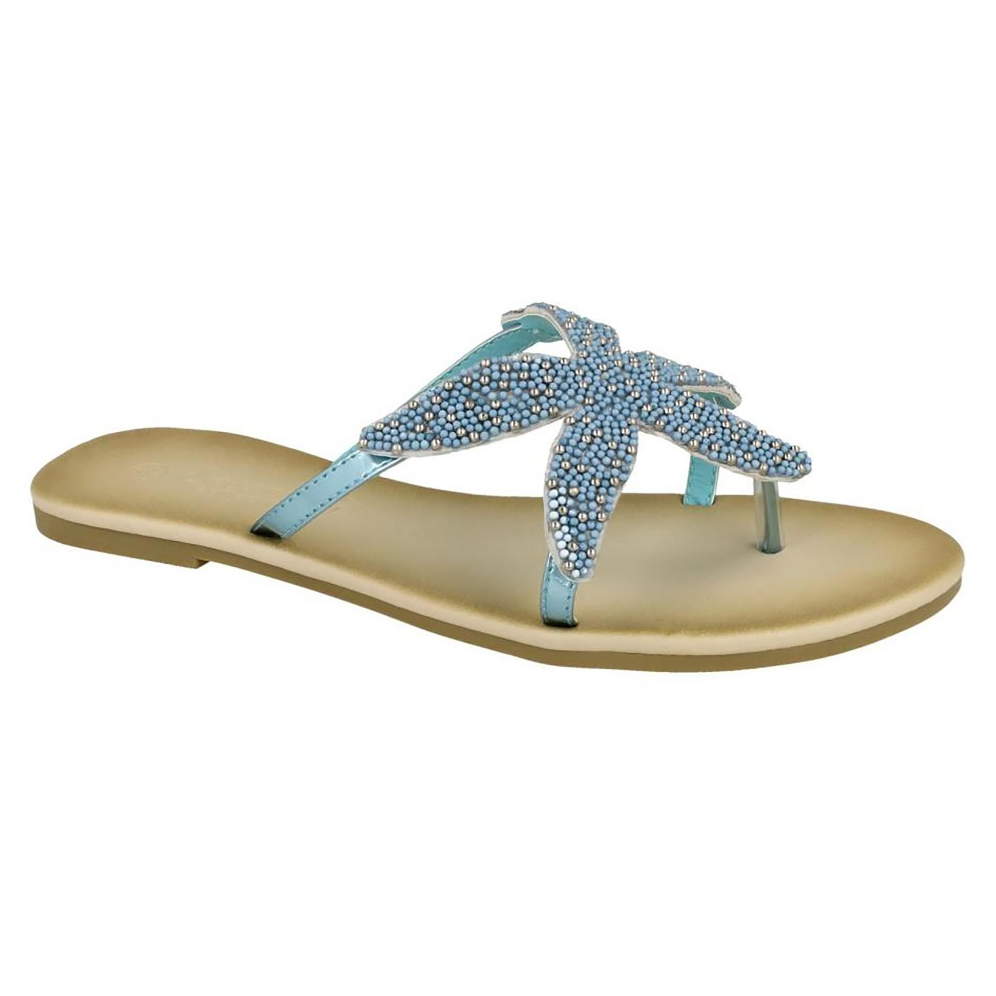 Savannah Damen Starfish Perlen Flip Flops (38 EU) (Gold) zsUgrW