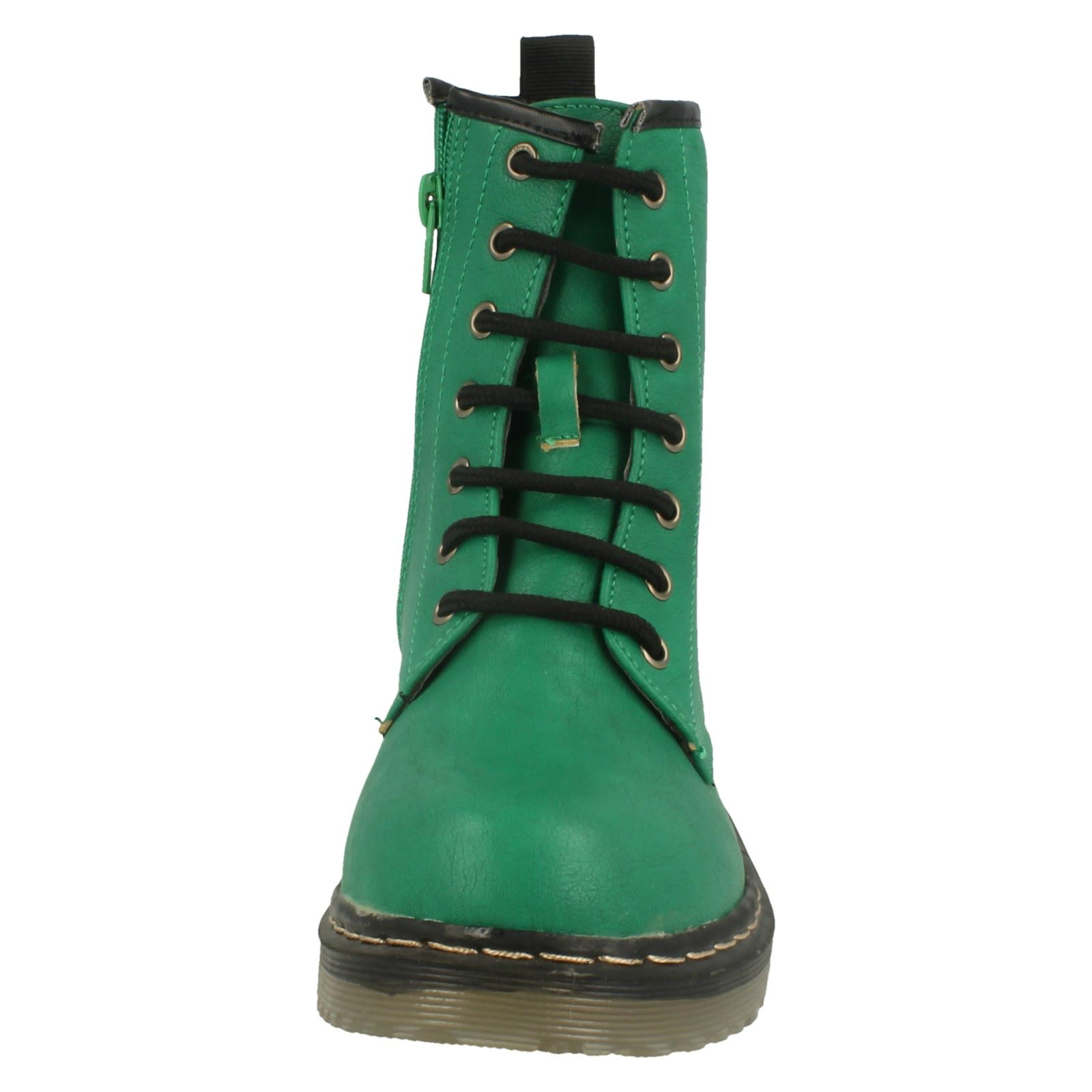 Spot-On-Childrens-Girls-Chunky-Sole-Lace-Up-Ankle-Boots-KM614
