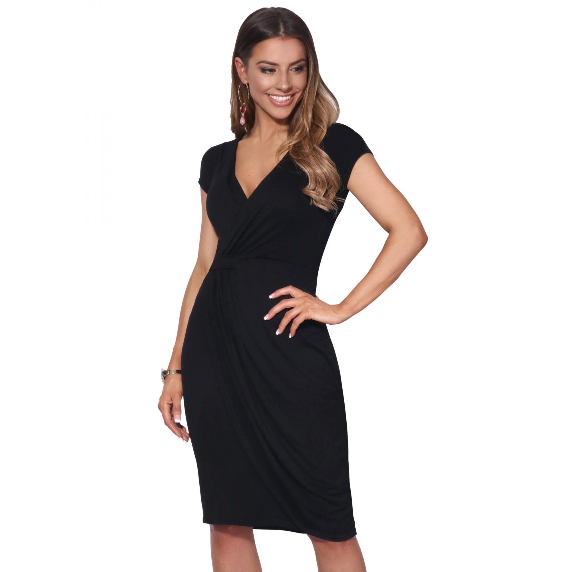 Krisp Womens/Ladies Cap Sleeve Wrap Jersey Dress (10 UK) (Black)