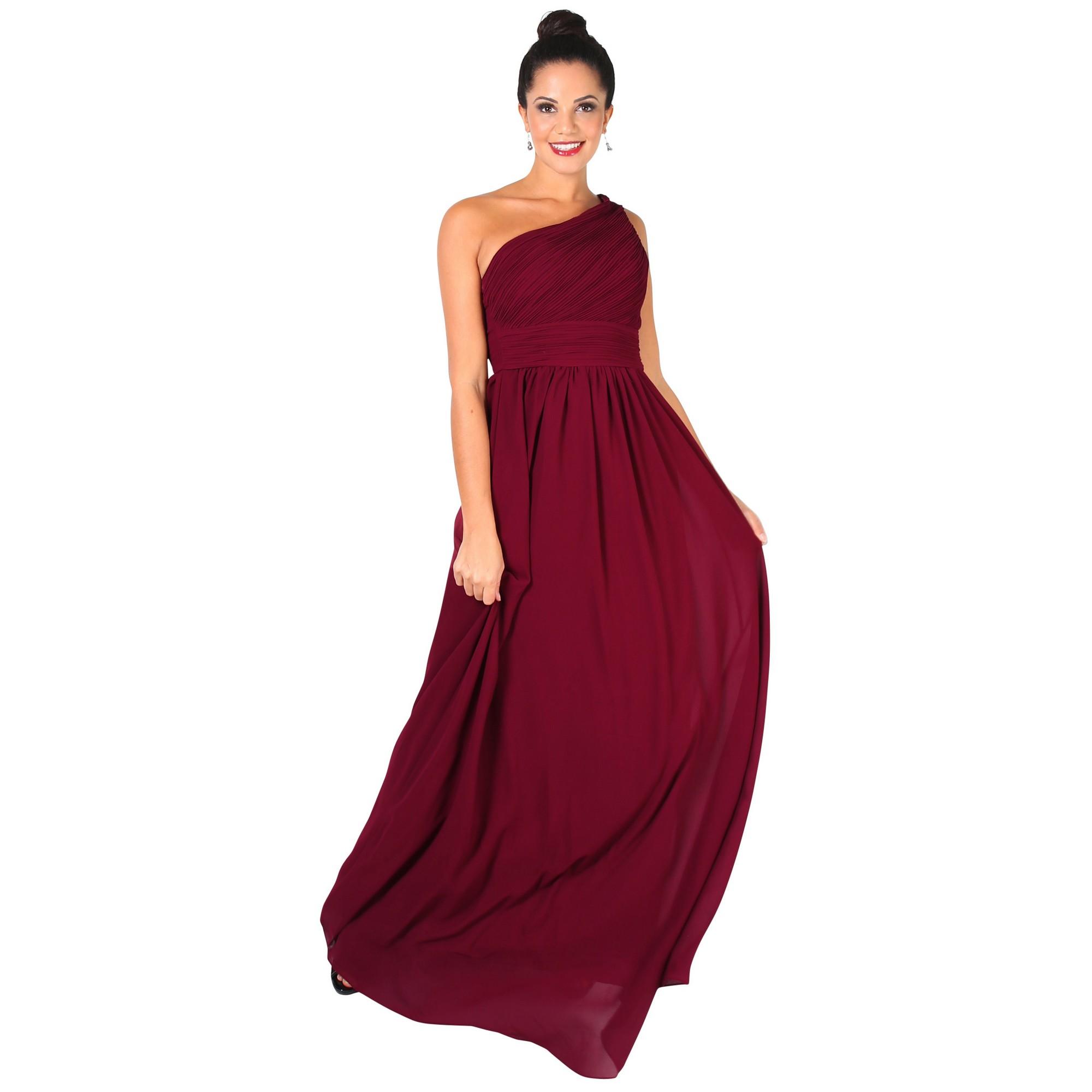 Krisp Womens/Ladies One Shoulder Evening Maxi Dress (18 UK) (Wine)