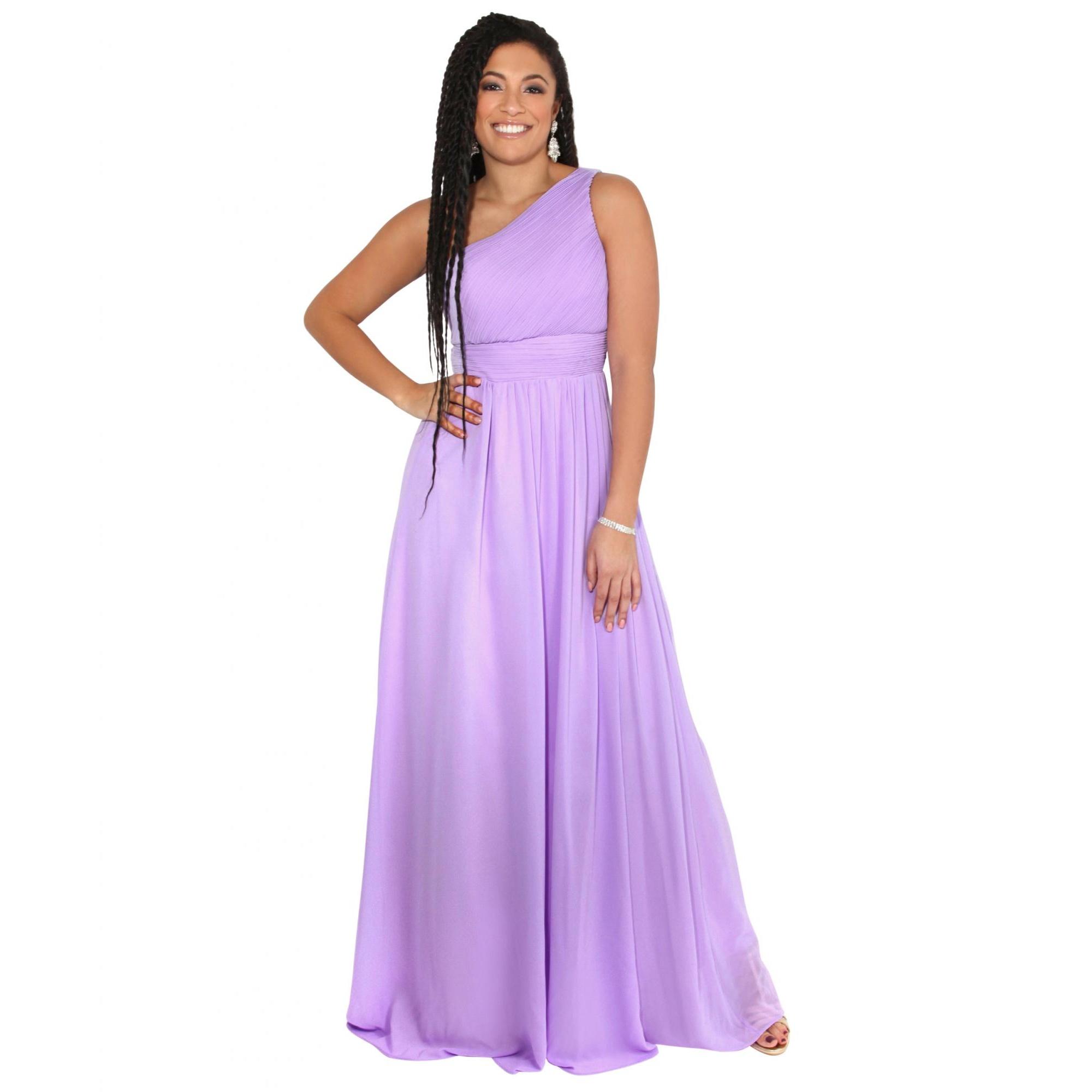 Krisp Womens/Ladies One Shoulder Evening Maxi Dress (20 UK) (Lilac)