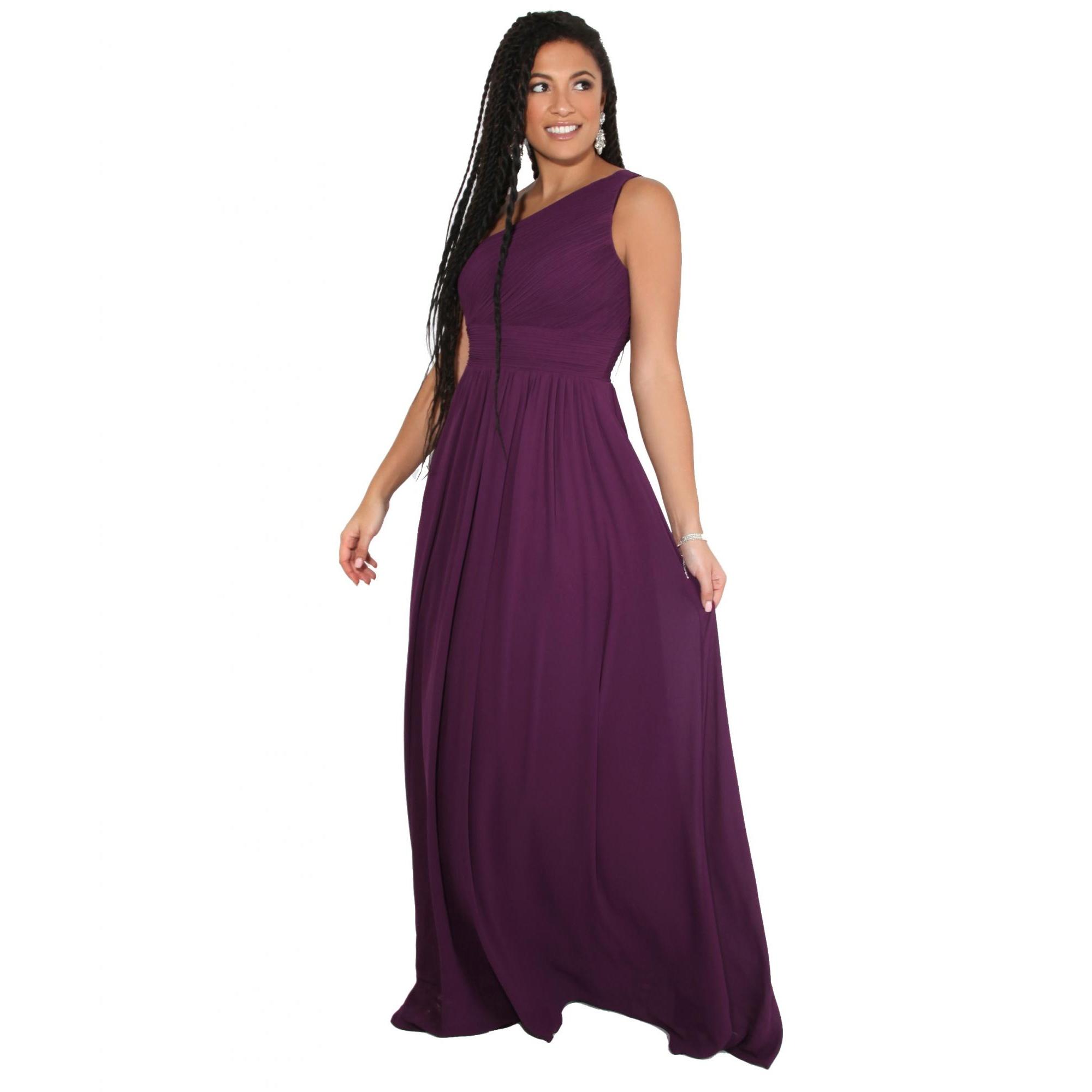 Krisp Womens/Ladies One Shoulder Evening Maxi Dress (8 UK) (Aubergine Purple)