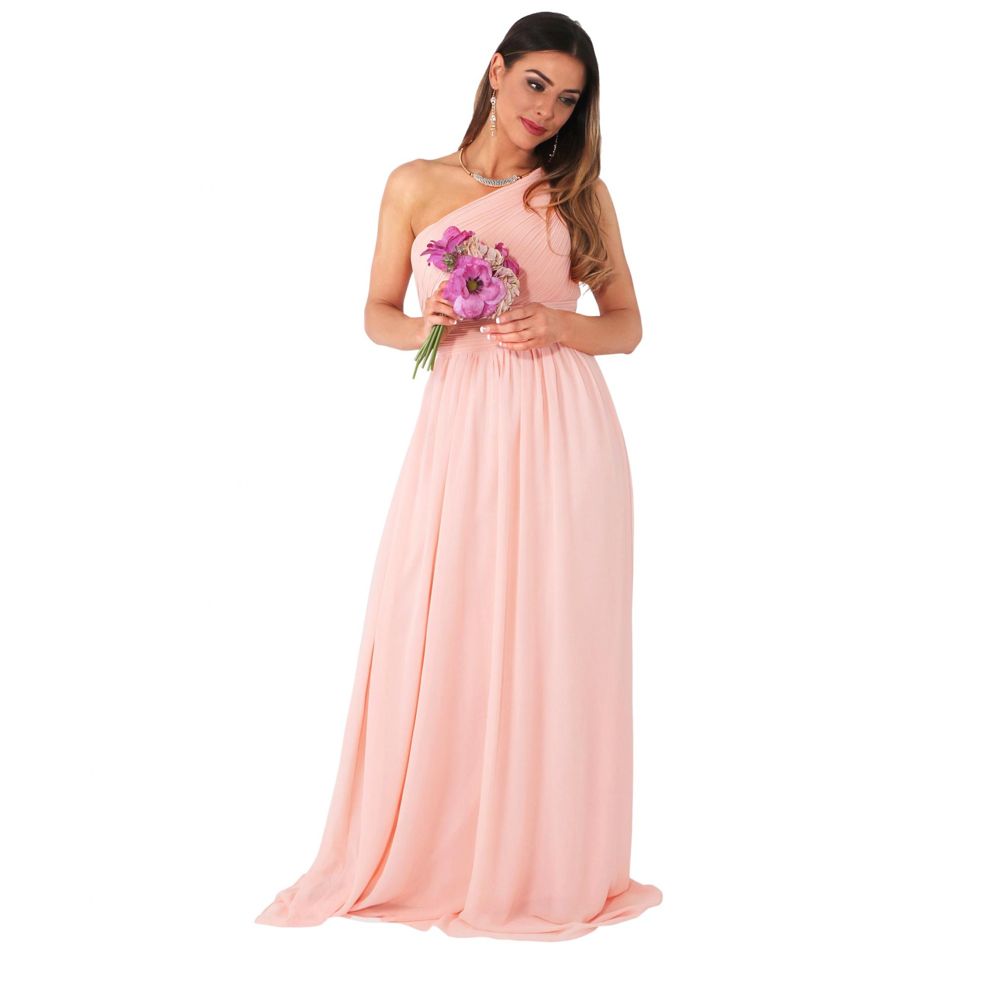 Krisp Womens/Ladies One Shoulder Evening Maxi Dress (18 UK) (Pink)