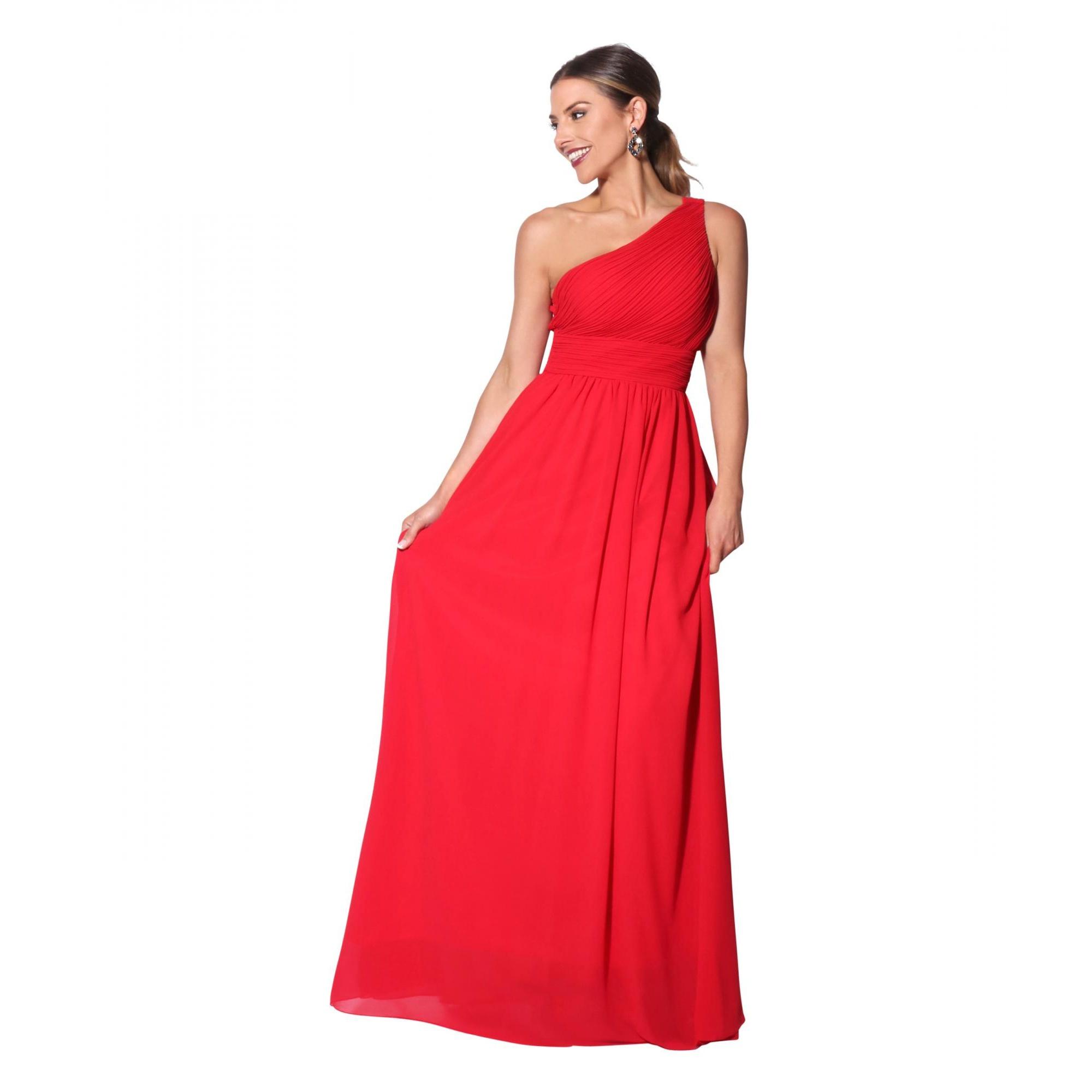 Krisp Womens/Ladies One Shoulder Evening Maxi Dress (10 UK) (Red)
