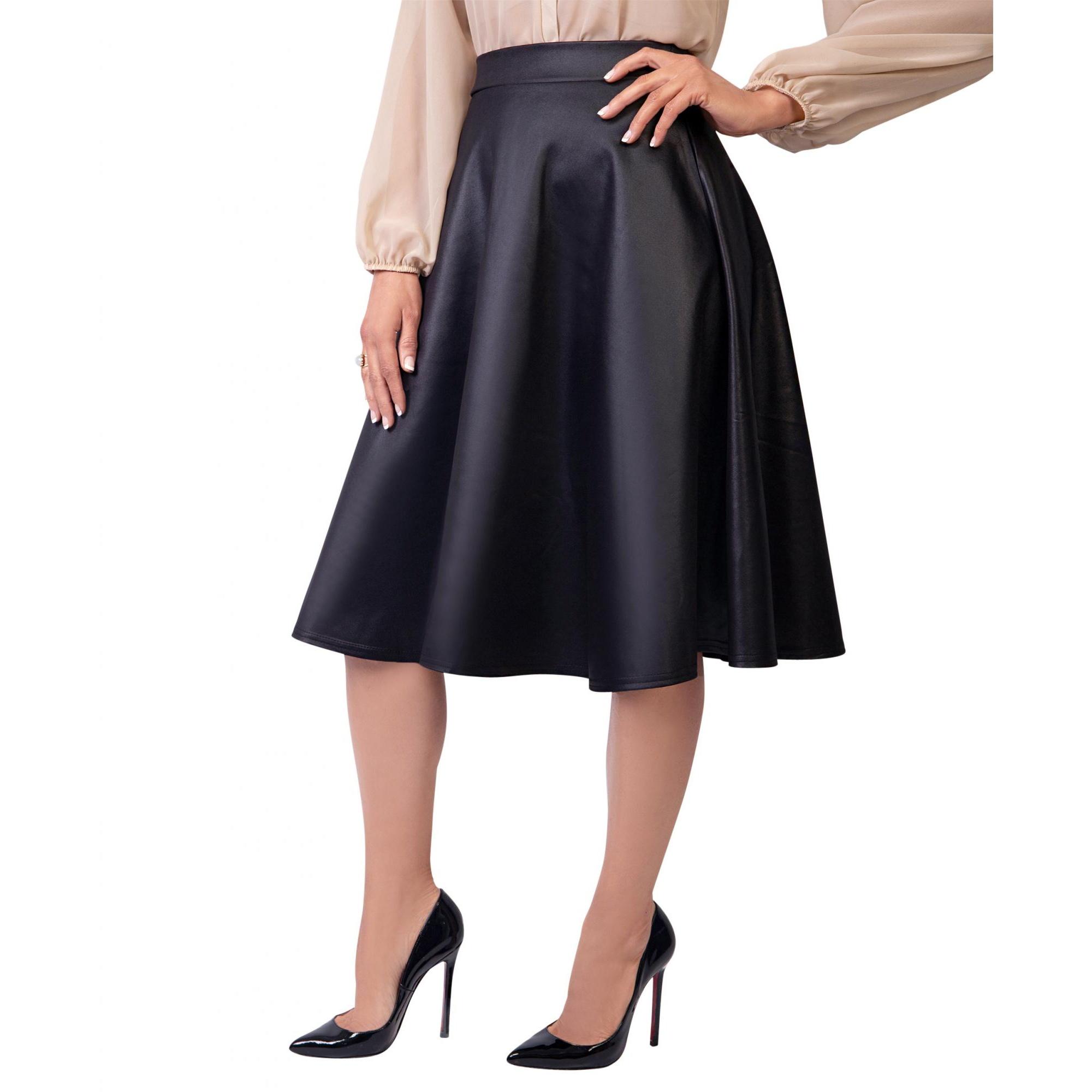 Krisp Womens/Ladies Faux Leather Midi Skirt (12 UK) (Matt Black)