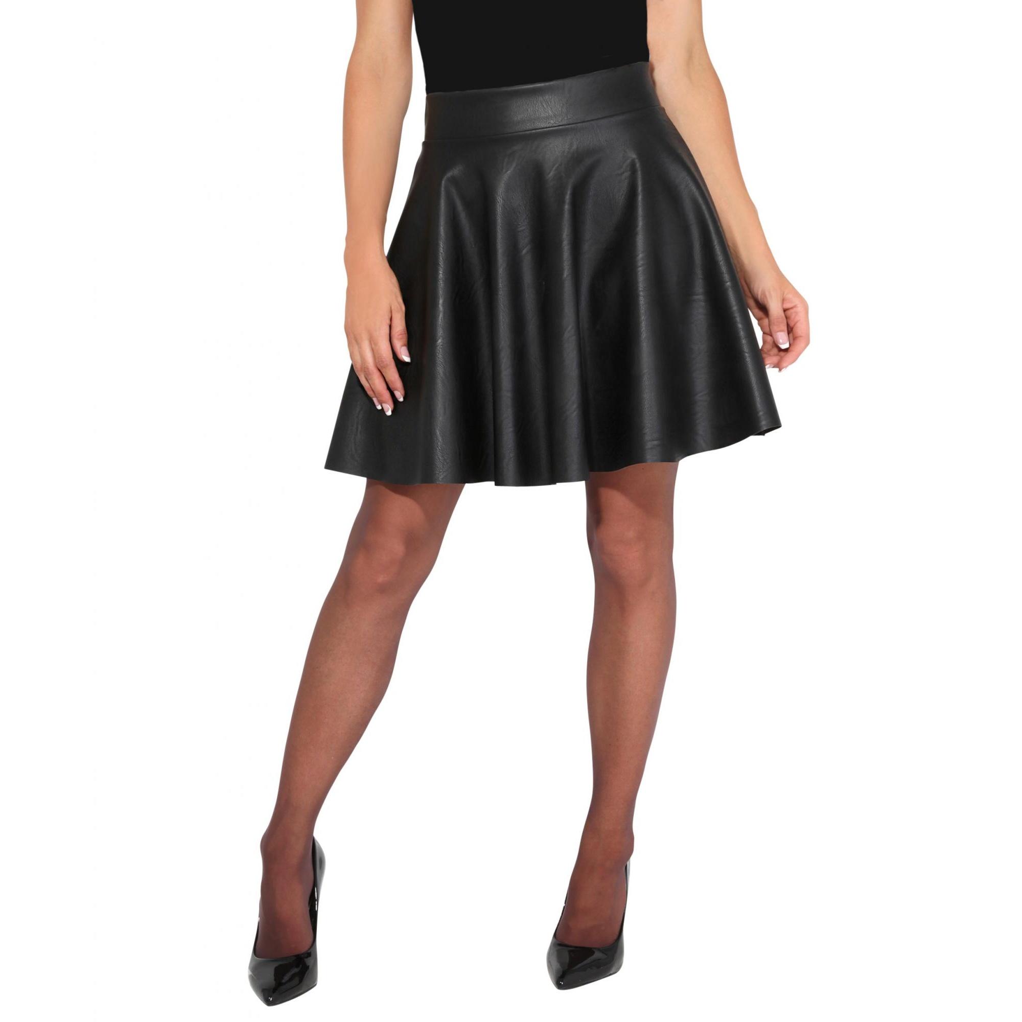 Krisp Womens/Ladies Faux Leather Skater Mini Skirt (8 UK) (Black)