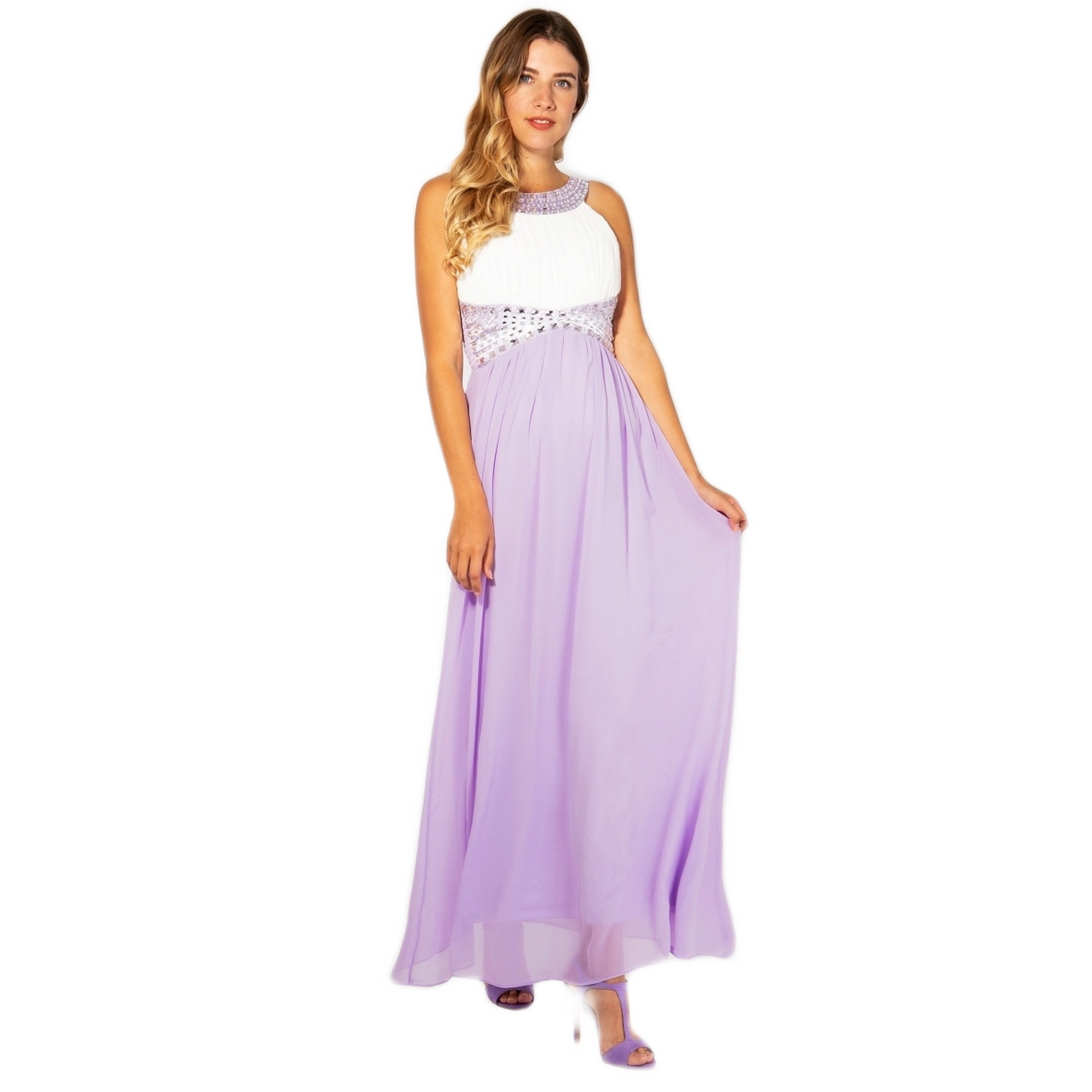 Krisp Womens/Ladies Contrast Diamante Evening Maxi Dress (16 UK) (Cream/Lilac)