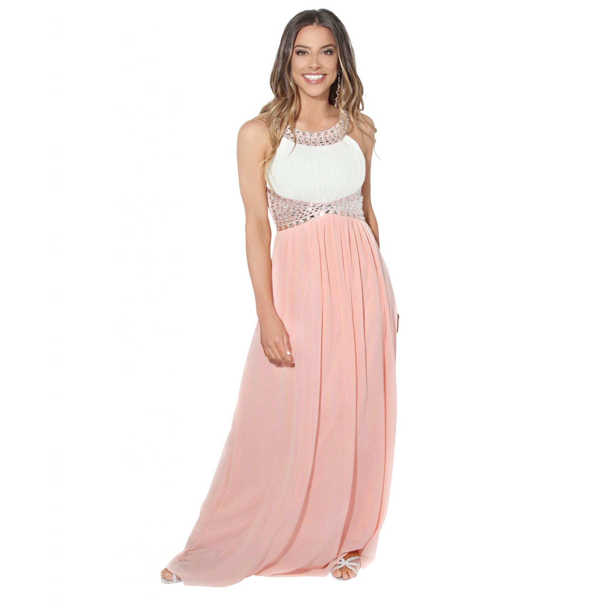 Krisp Womens/Ladies Contrast Diamante Evening Maxi Dress (12 UK) (Cream/Pink)