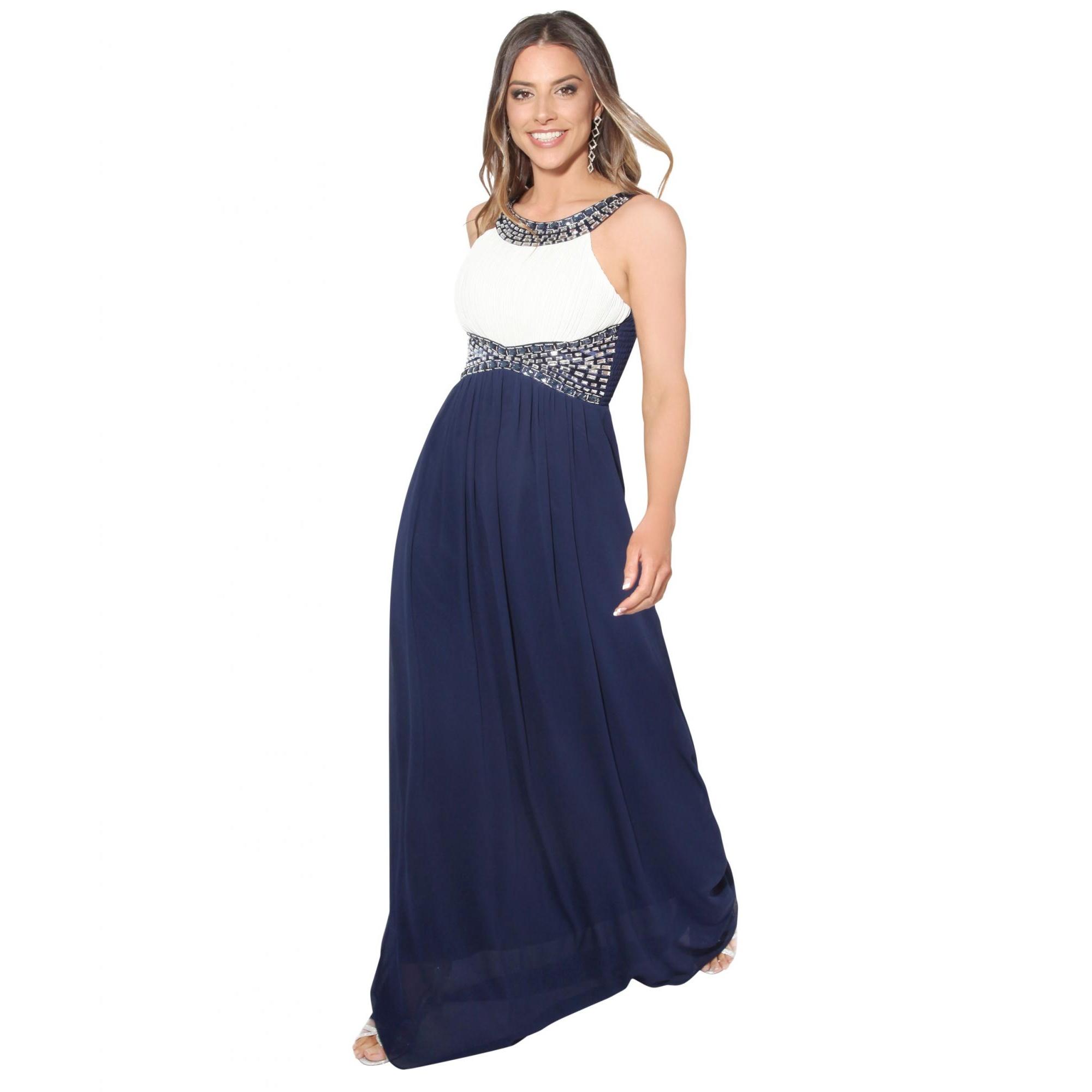 Krisp Womens/Ladies Contrast Diamante Evening Maxi Dress (18 UK) (Cream/Navy)