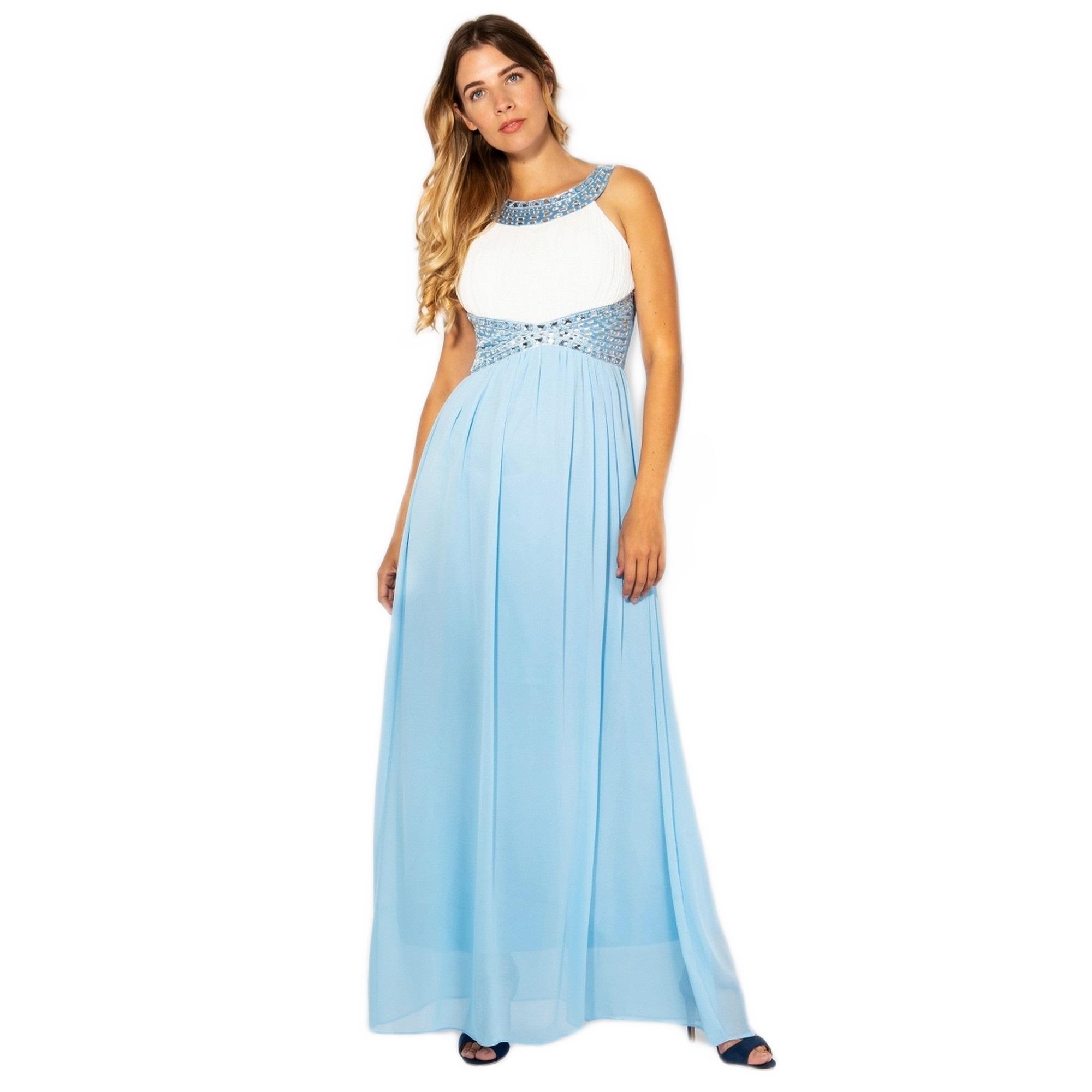 Krisp Womens/Ladies Contrast Diamante Evening Maxi Dress (8 UK) (Cream/Aqua Blue)