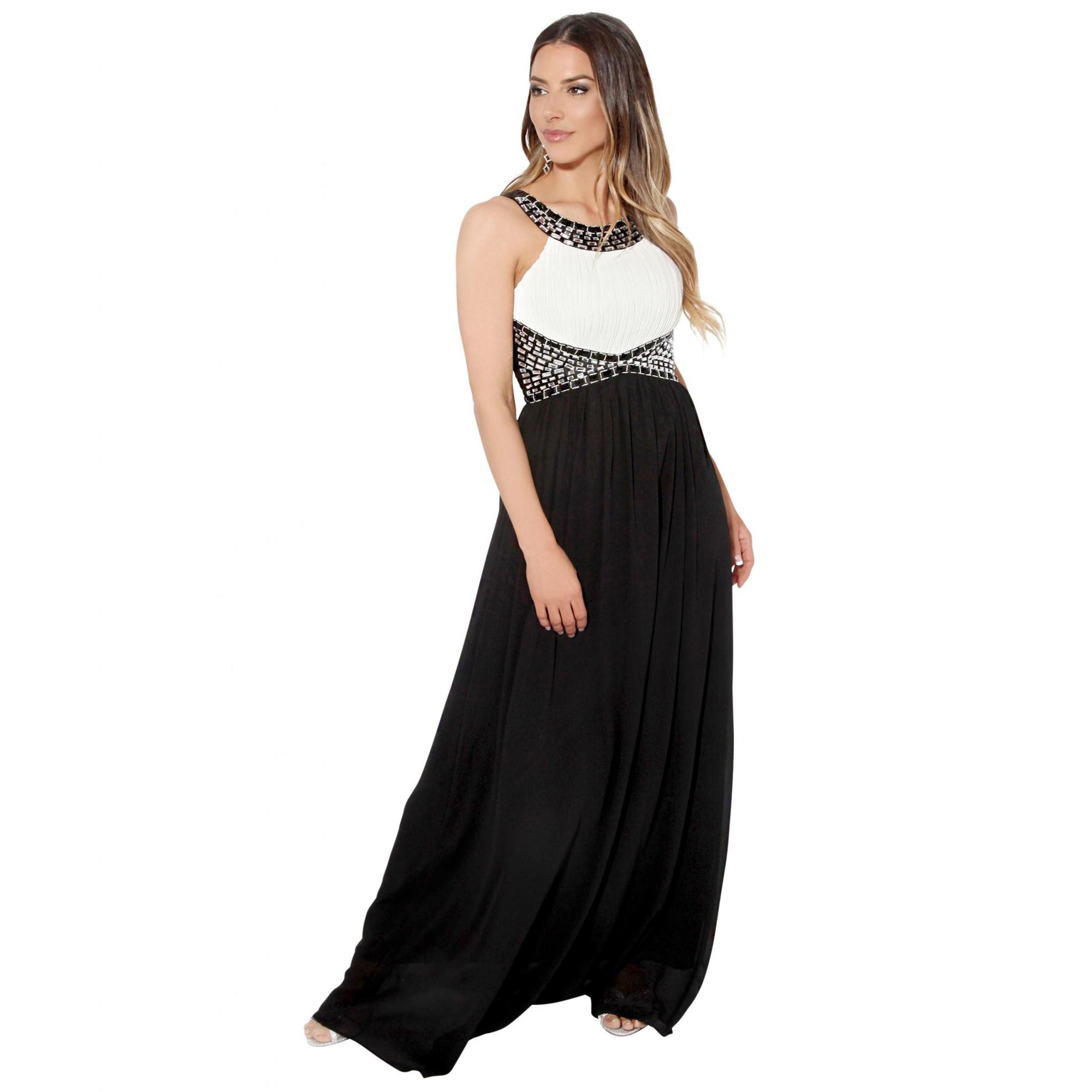 Krisp Womens/Ladies Contrast Diamante Evening Maxi Dress (8 UK) (White/Black)
