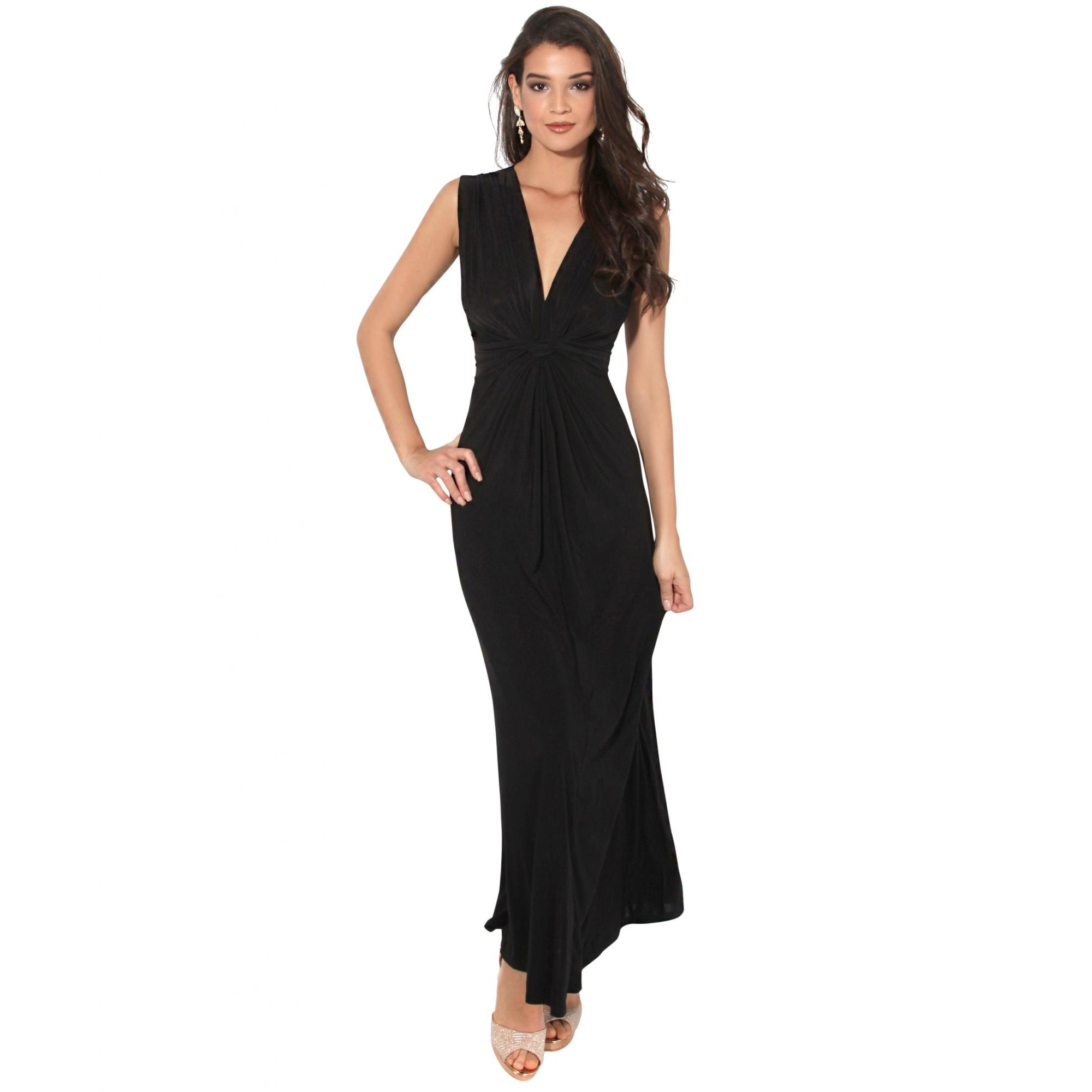 Krisp Womens/Ladies Knot Front Sleeveless Maxi Dress (16 UK) (Black)