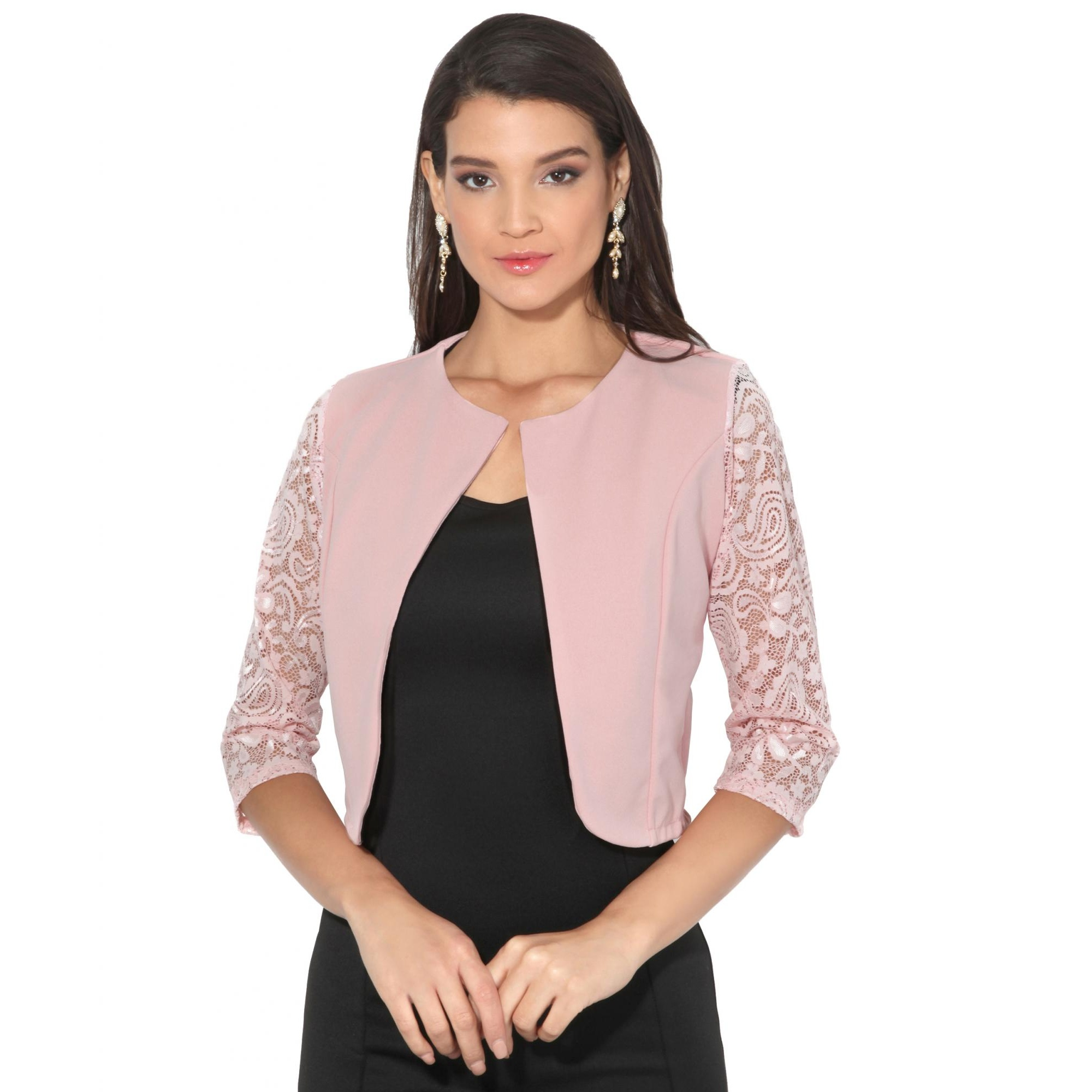 Krisps Womens/Ladies Lace Sleeve Cropped Evening Shrug (L/XL) (Pink)