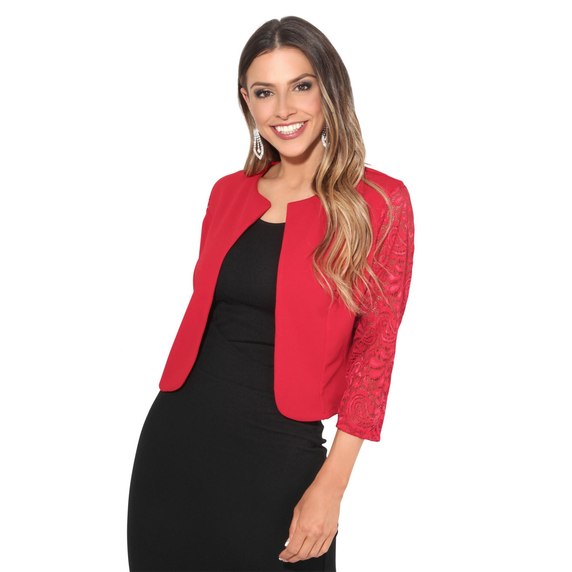 Krisps Womens/Ladies Lace Sleeve Cropped Evening Shrug (S/M) (Red)