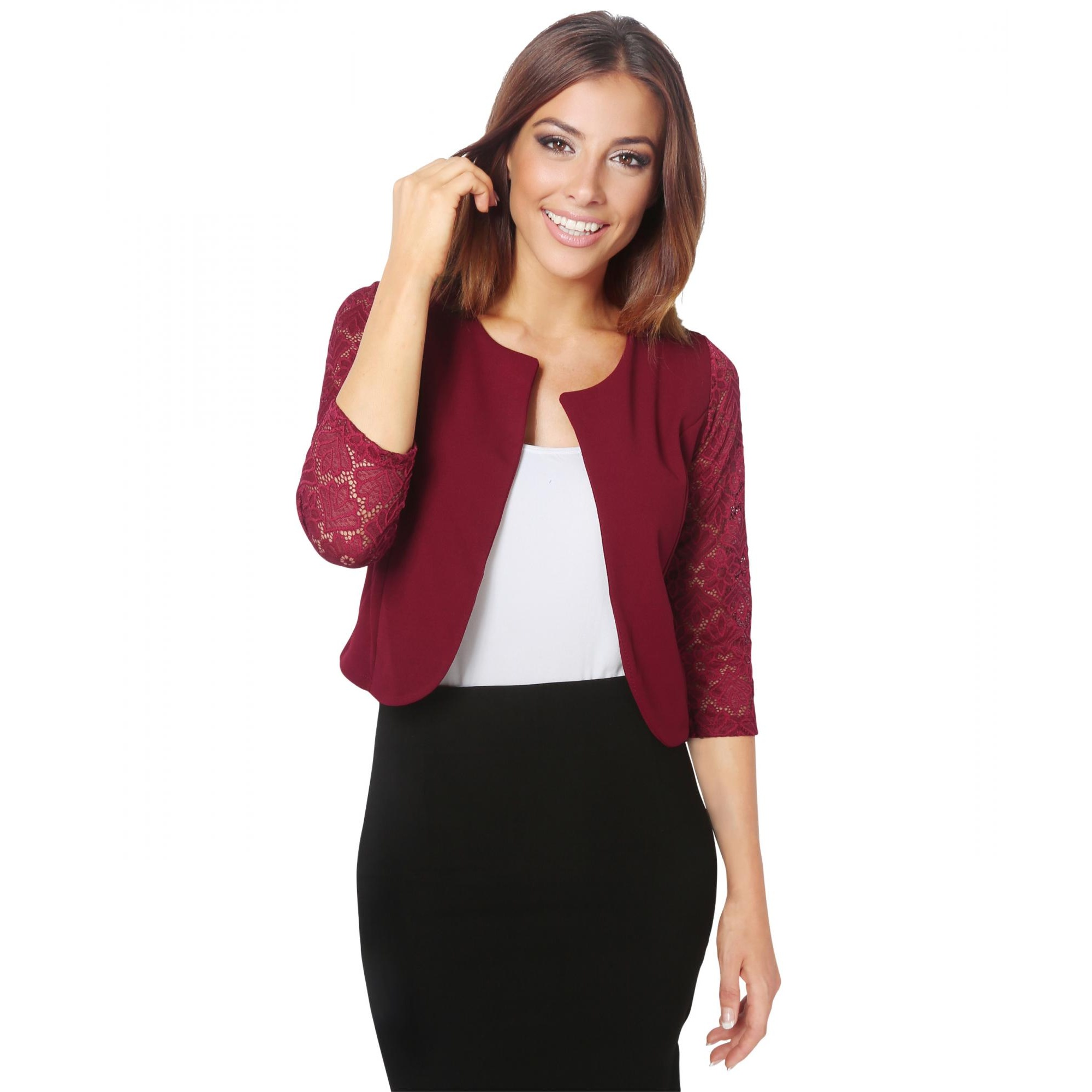 Krisps Womens/Ladies Lace Sleeve Cropped Evening Shrug (S/M) (Wine)