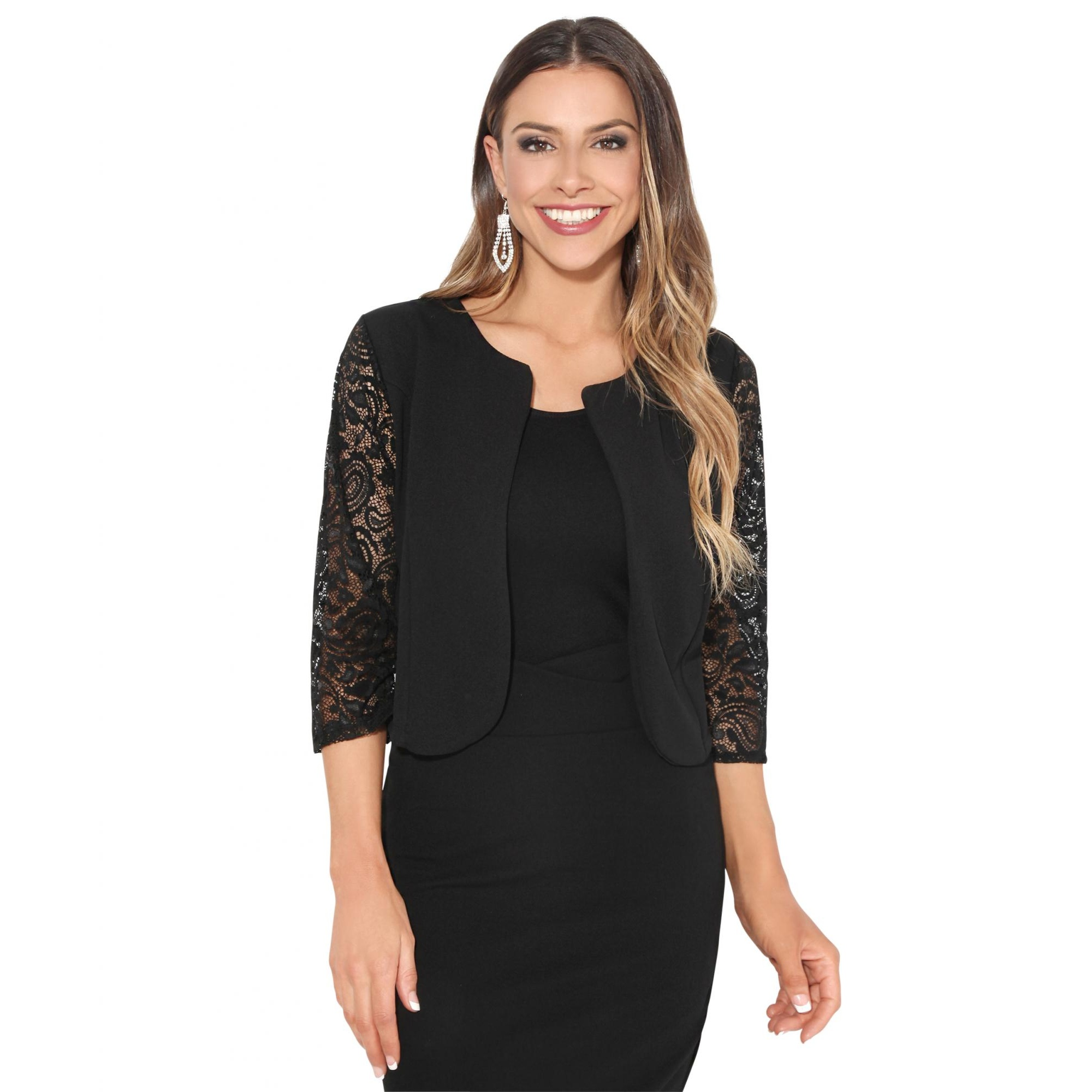 Krisps Womens/Ladies Lace Sleeve Cropped Evening Shrug (L/XL) (Black)