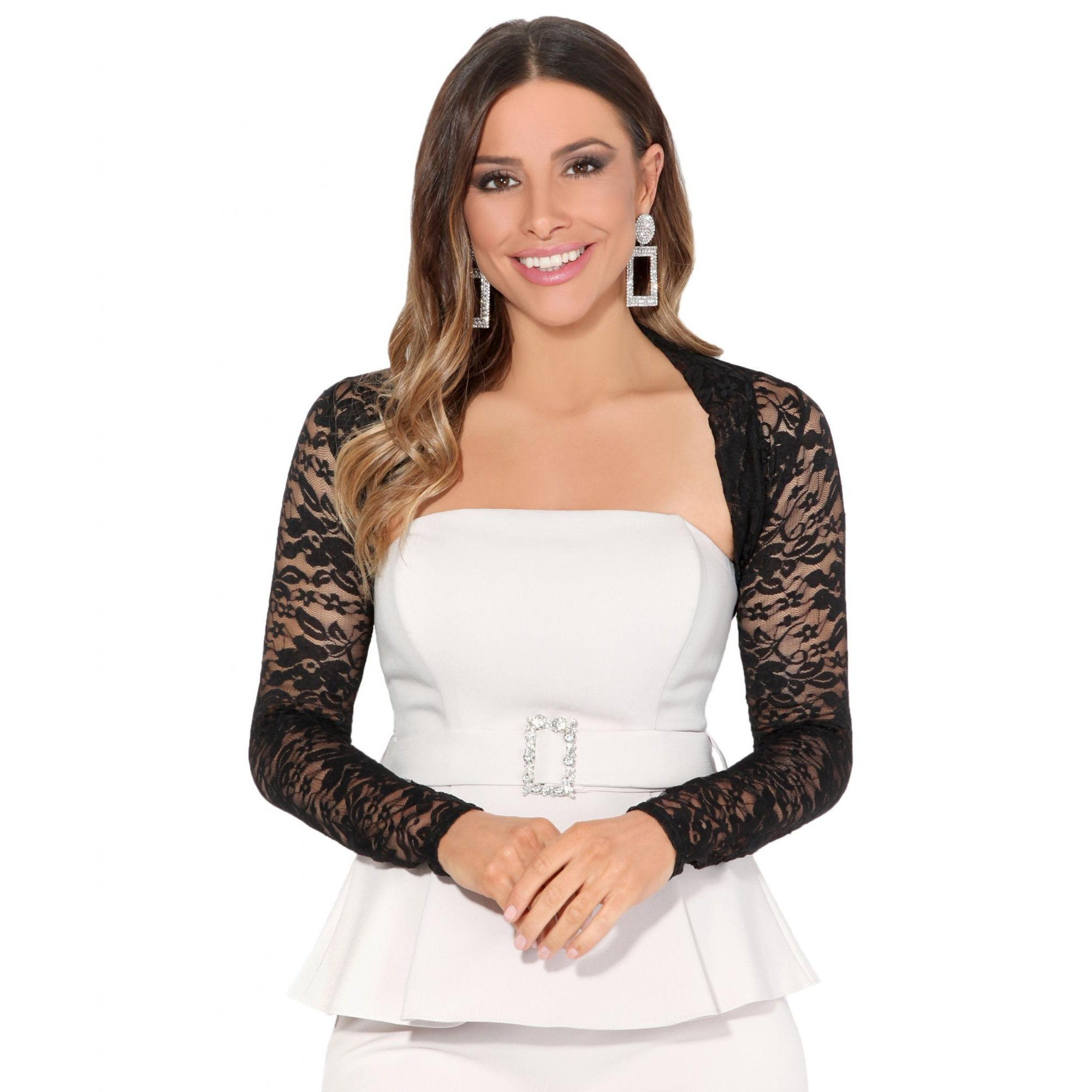Krisp Womens/Ladies Lace Cropped Evening Shrug (16 UK) (Black)
