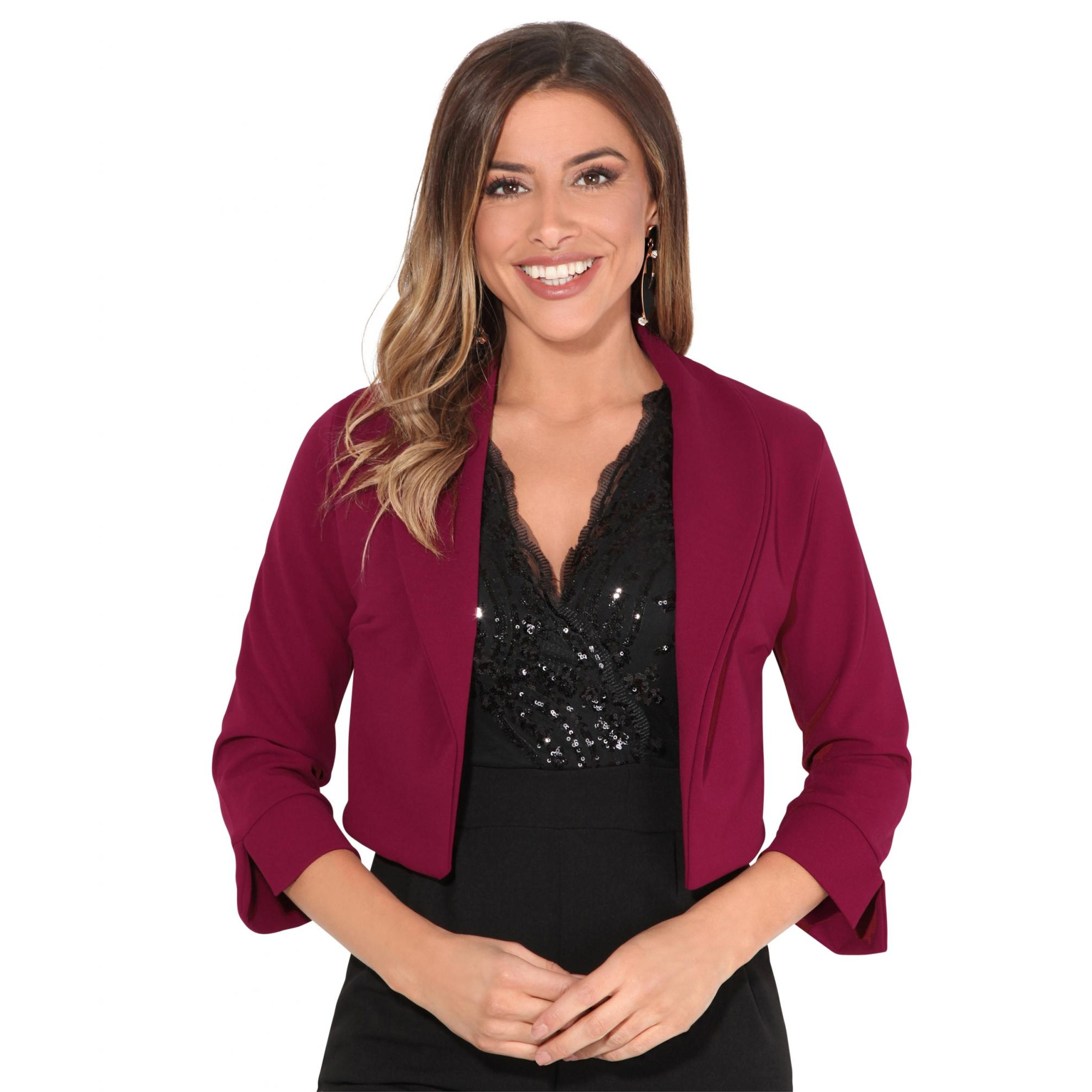 Krisp Womens/Ladies Wide Lapel Three-Quarter Sleeve Shrug (18 UK) (Wine)