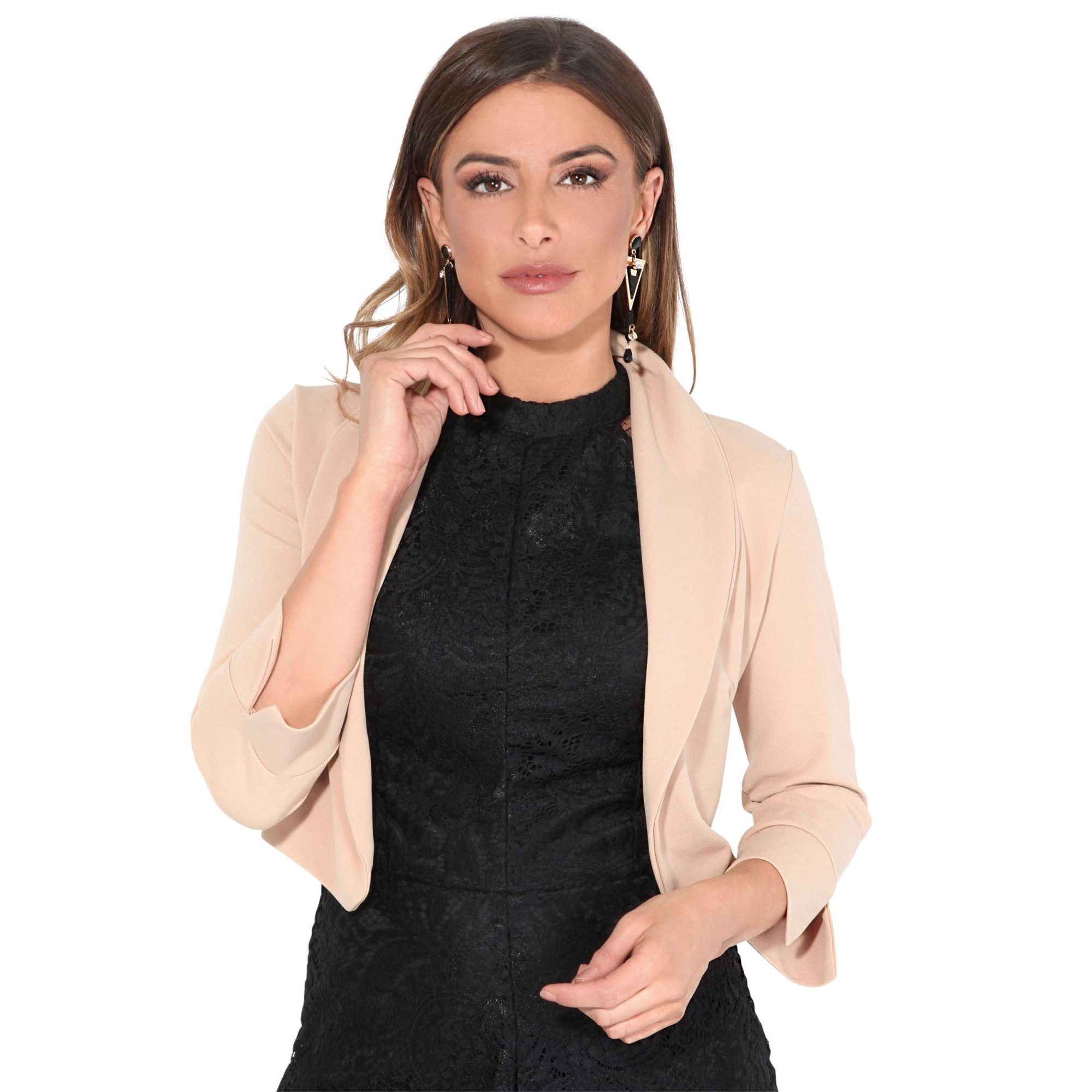 Krisp Womens/Ladies Wide Lapel Three-Quarter Sleeve Shrug (16 UK) (Stone)