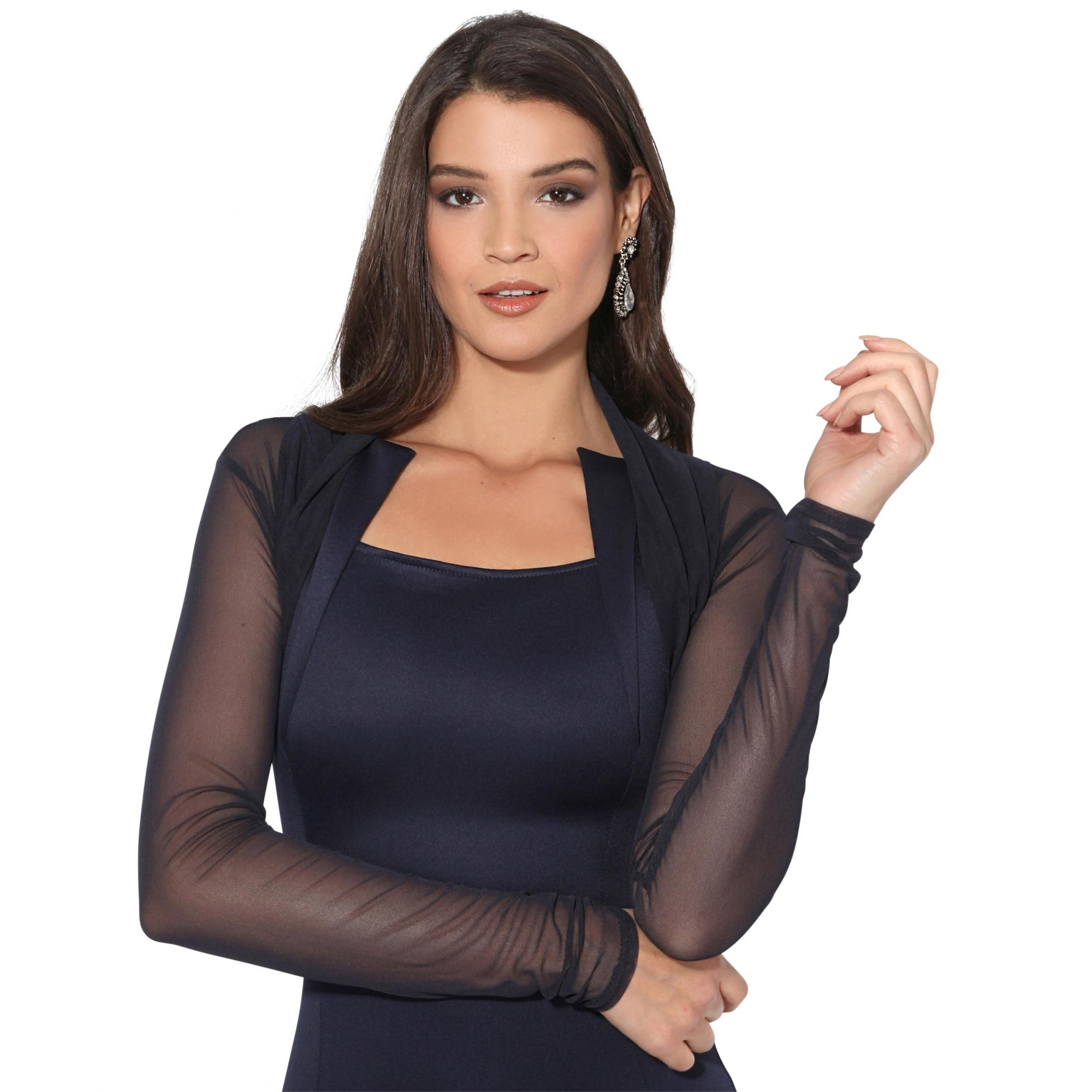 Krisp Womens/Ladies Ruched Long Sleeve Mesh Shrug (18 UK) (Navy)