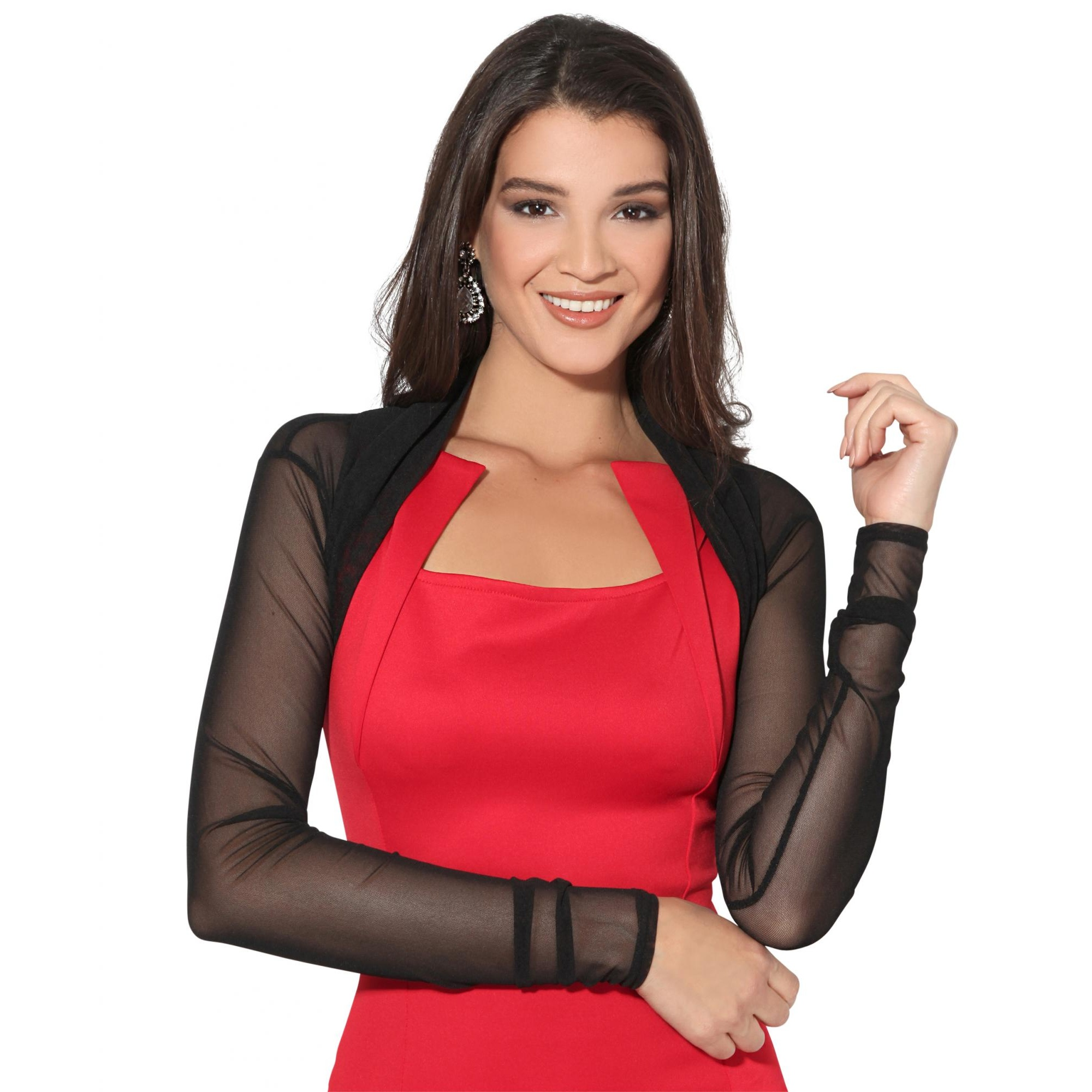 Krisp Womens/Ladies Ruched Long Sleeve Mesh Shrug (20 UK) (Black)
