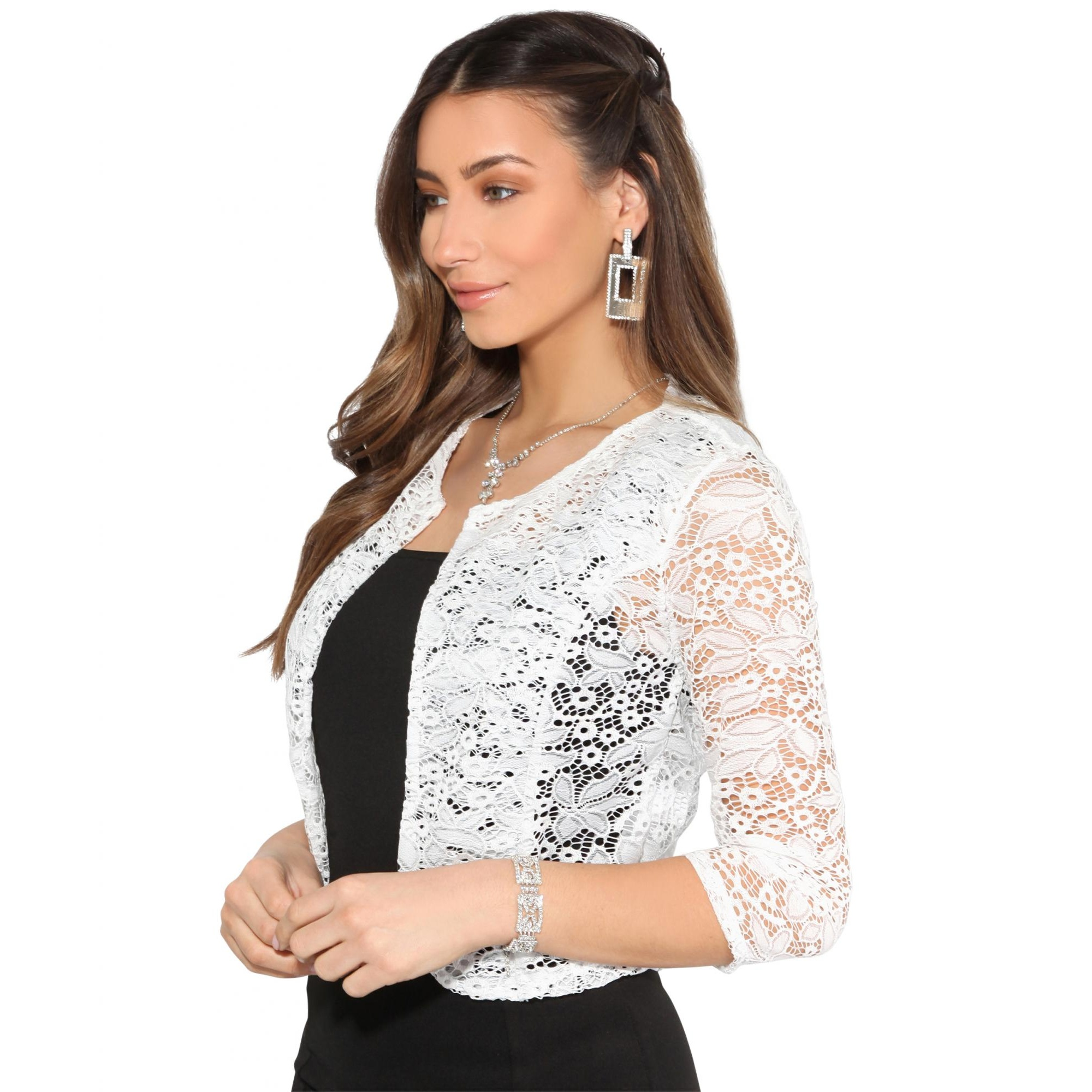 Krisp Womens/Ladies All Over Lace Cropped Evening Shrug (M/L) (White)