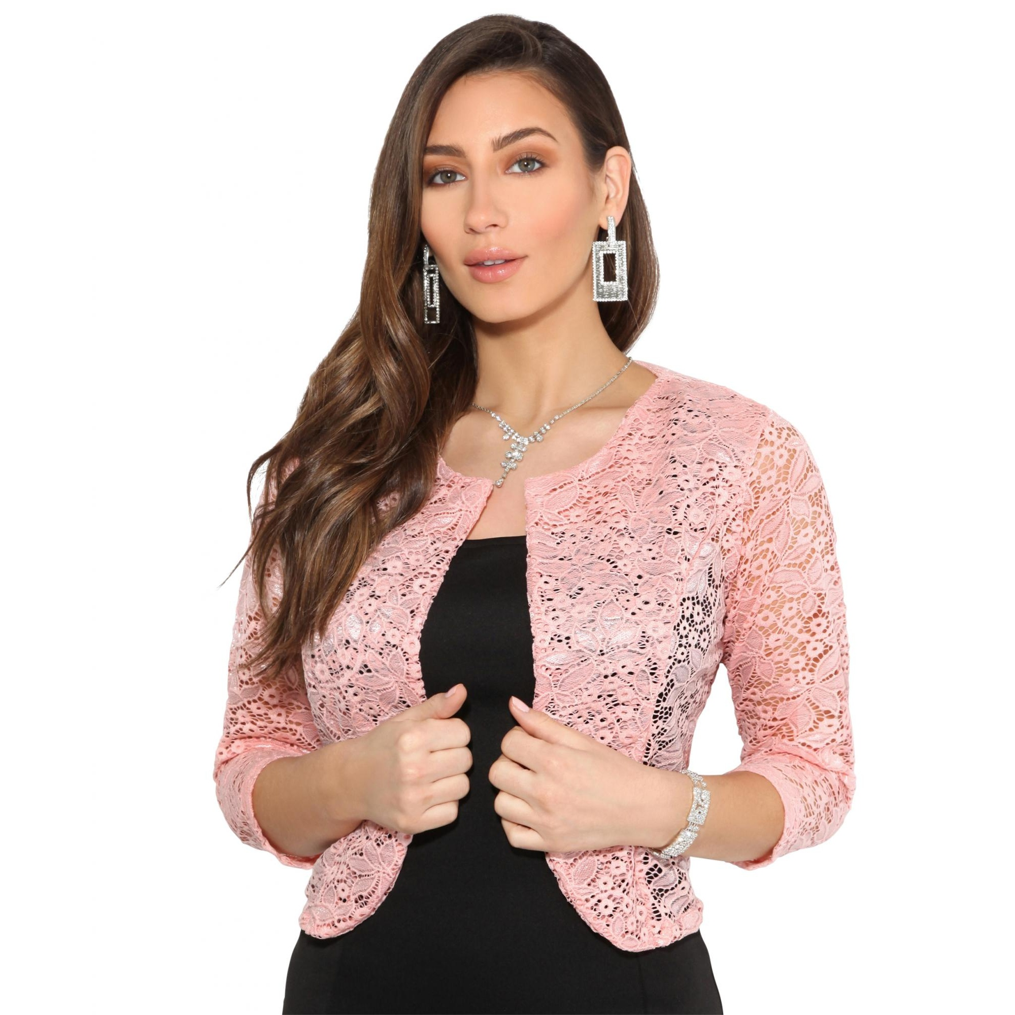 Krisp Womens/Ladies All Over Lace Cropped Evening Shrug (L/XL) (Pink)